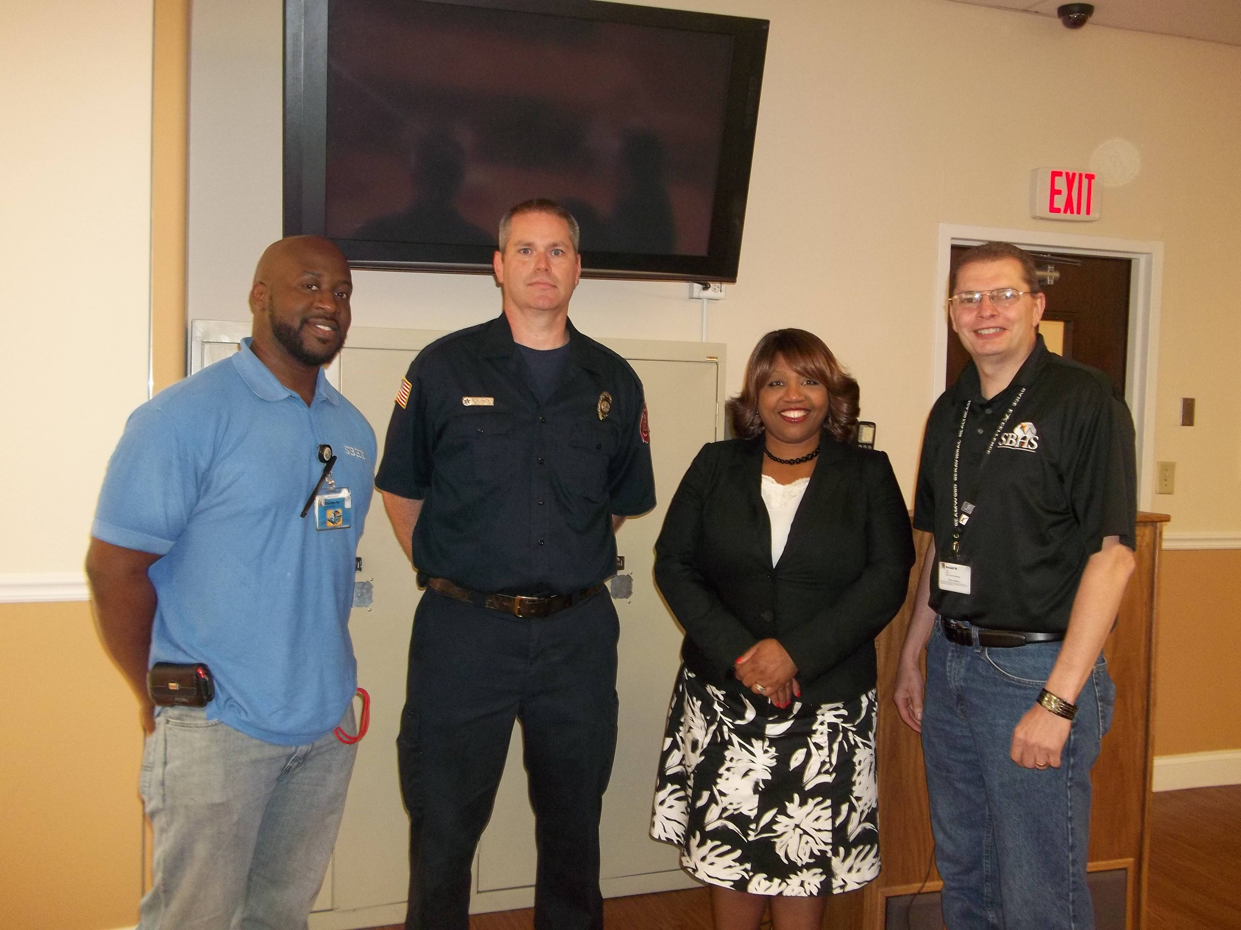 From left to right:  Officer Kisch, Jelani Lesure,Greg Moorman, Officer Stastny, Ronald Weglarz and Patricia McClure-ChessierBrynn Obrien