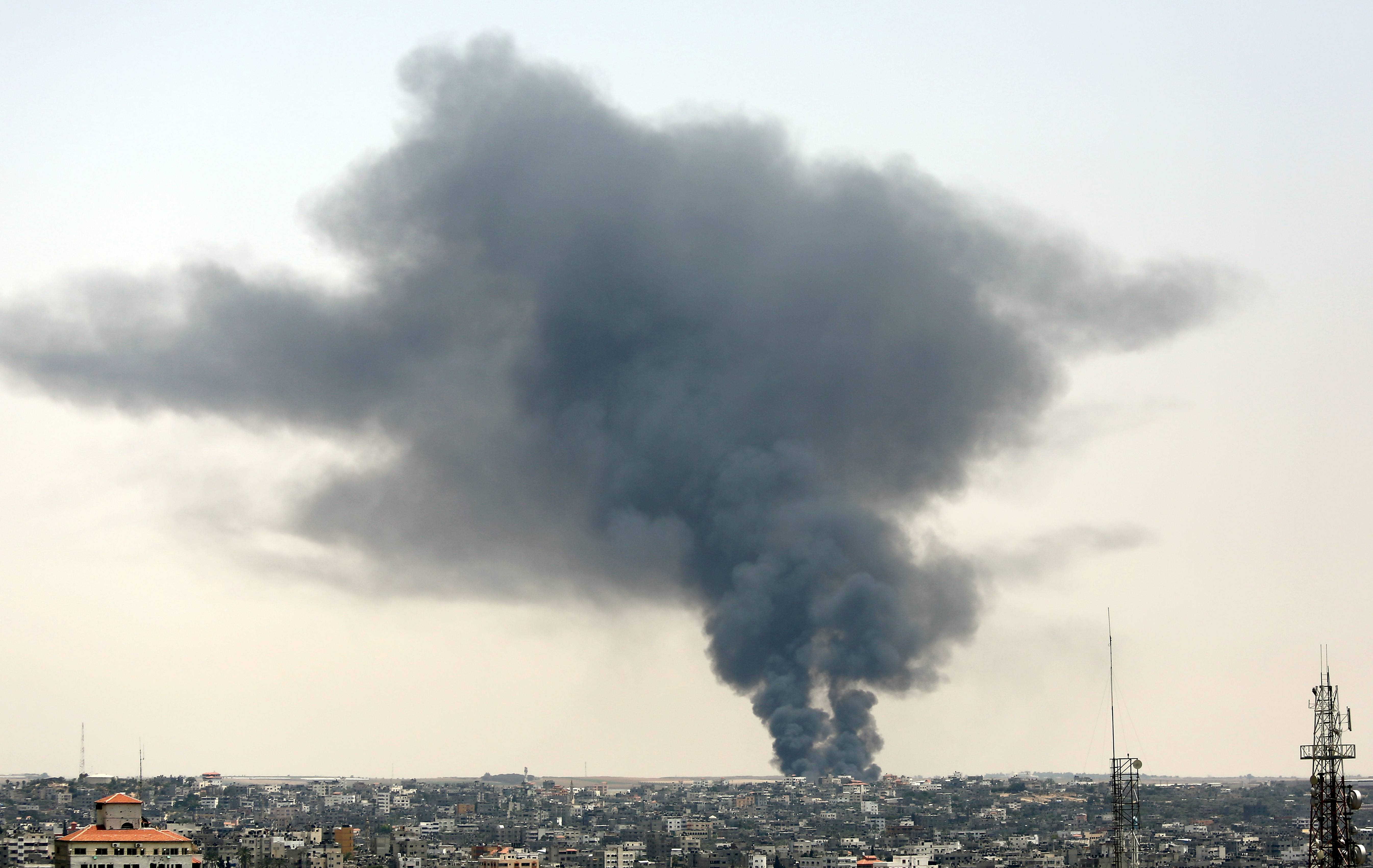 Smoke rises after a cargo crossing between Israel and Gaza was shelled on Saturday.