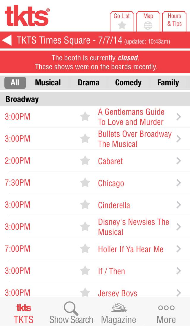 The TKTS app provides a list of which New York City live theater shows are offering discounted tickets for that night's performance. The app also lists other information including the show's description and monthly schedule, theater location, directions, closest subway stops and a link to purchase full-price tickets.