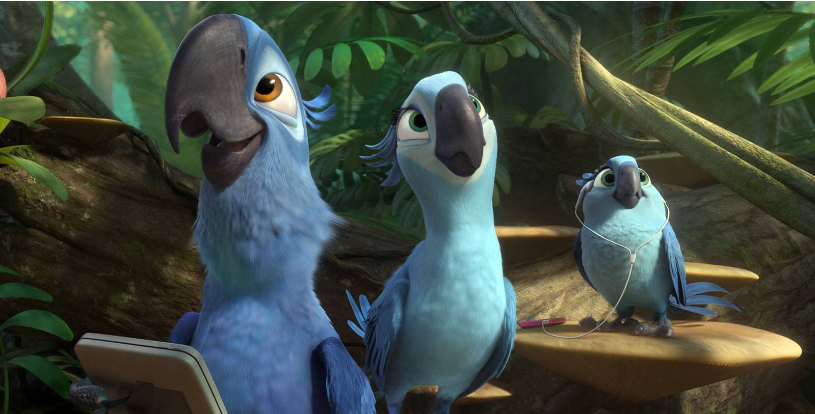 "Blu (voiced by Jesse Eisenberg) and Jewel return in ""Rio 2."""