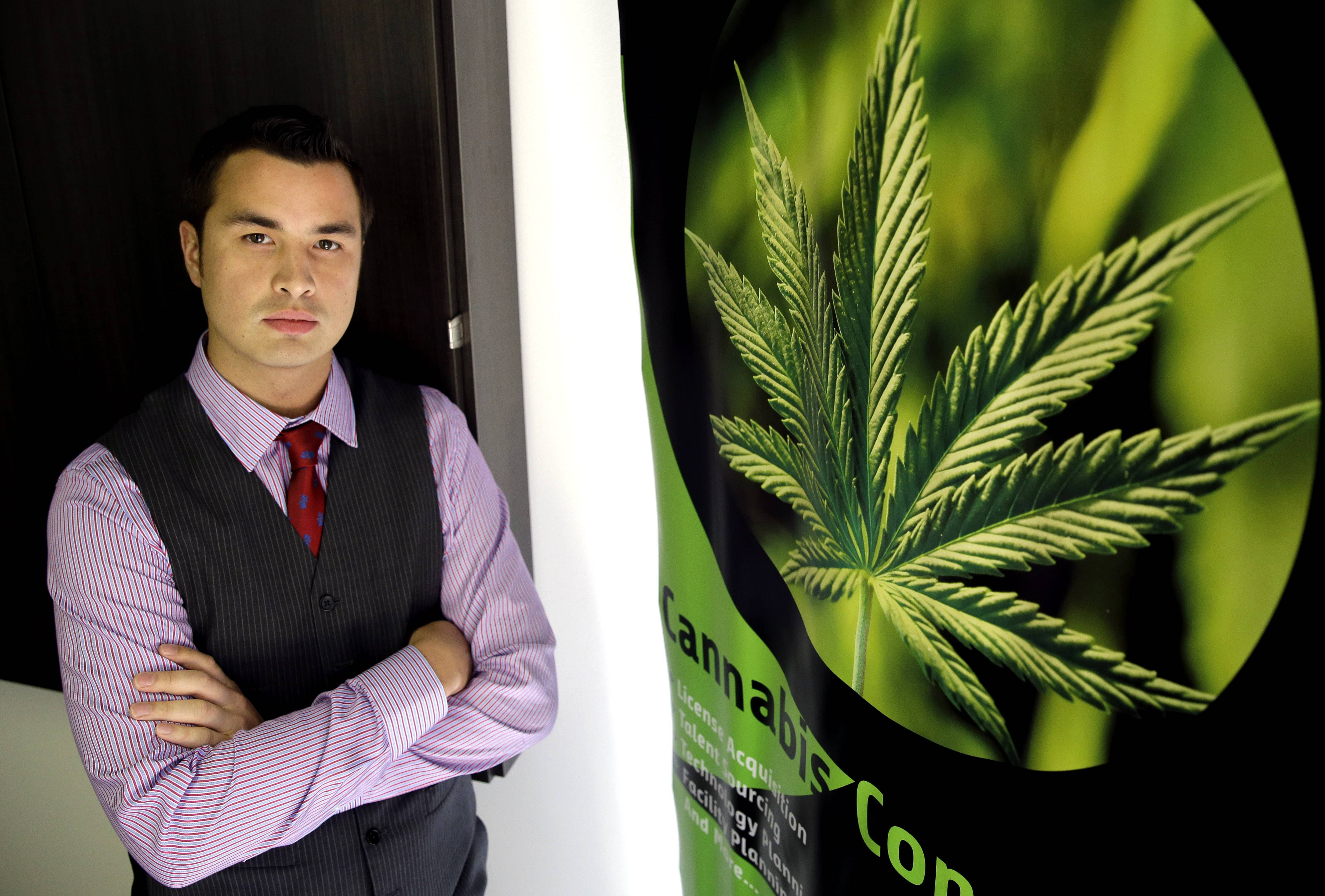 Michael Mayes, CEO of Chicago-based Quantum 9 Inc., a medical cannabis consulting company, poses for a photo in his Chicago office. The prospect of adding jobs, even as few as 30, has led officials in many shrinking Illinois' communities to set aside any qualms about the state's legalization of medical marijuana and to get friendly with would-be growers.