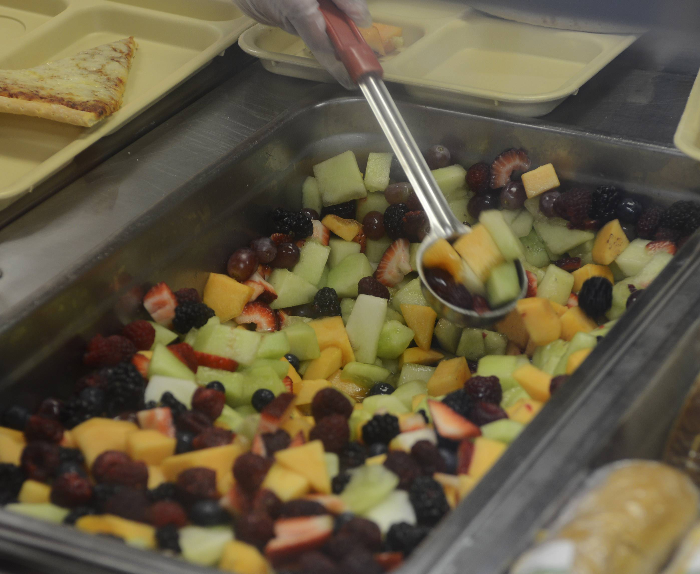 A fruit medley is served in the lunchroom in May at Fremont Intermediate School near Mundelein. Fremont School District 79 allows students to have sweet treats as long as healthy food is also on the table.