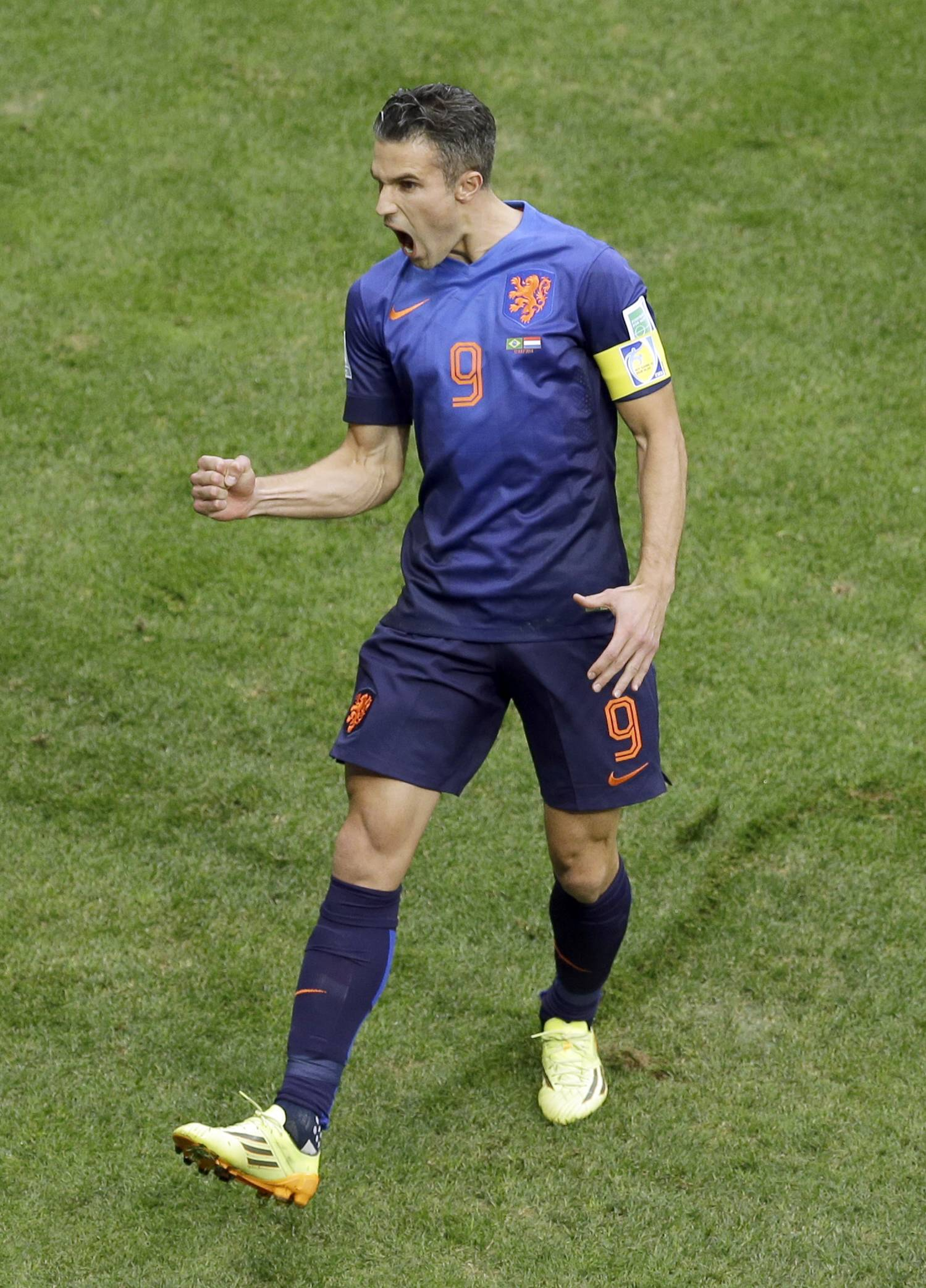 The Netherlands' Robin van Persie celebrates after scoring during Saturday's third-place World Cup match against Brazil at the Estadio Nacional in Brasilia, Brazil.