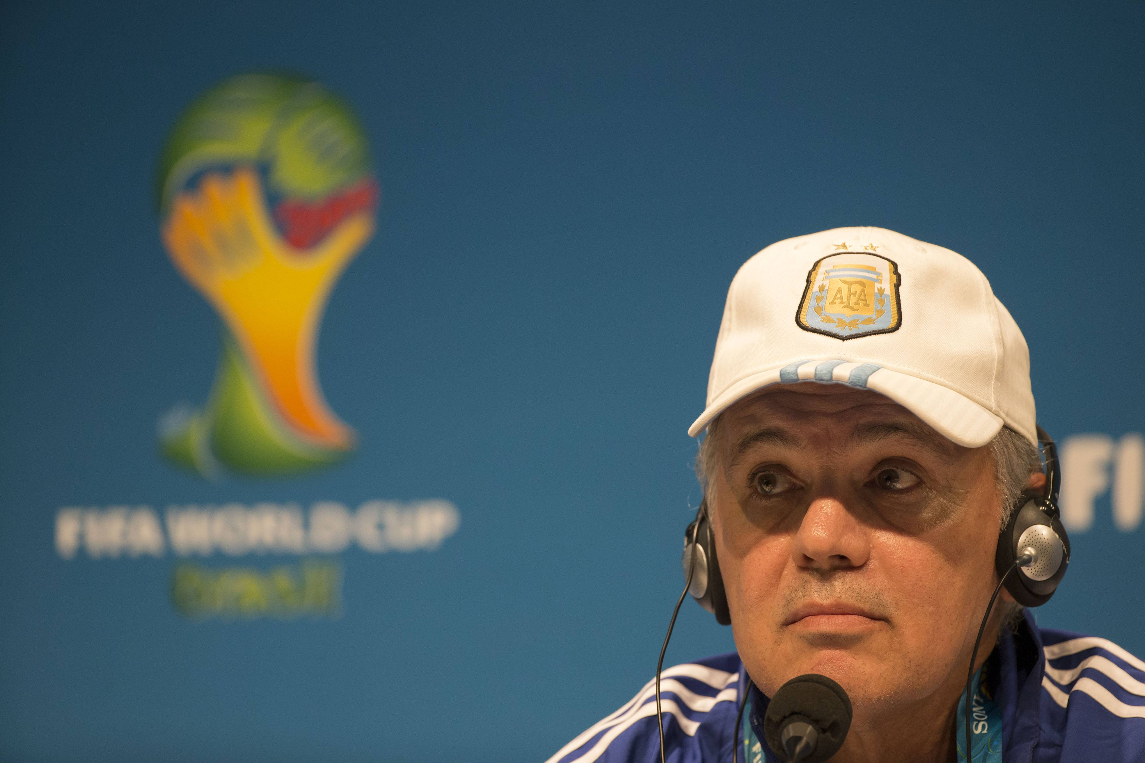 Argentina's head coach, Alejandro Sabella, listens to questions during a news conference Saturday in Rio de Janeiro, Brazil. Argentina and Germany will play for the World Cup title on Sunday.