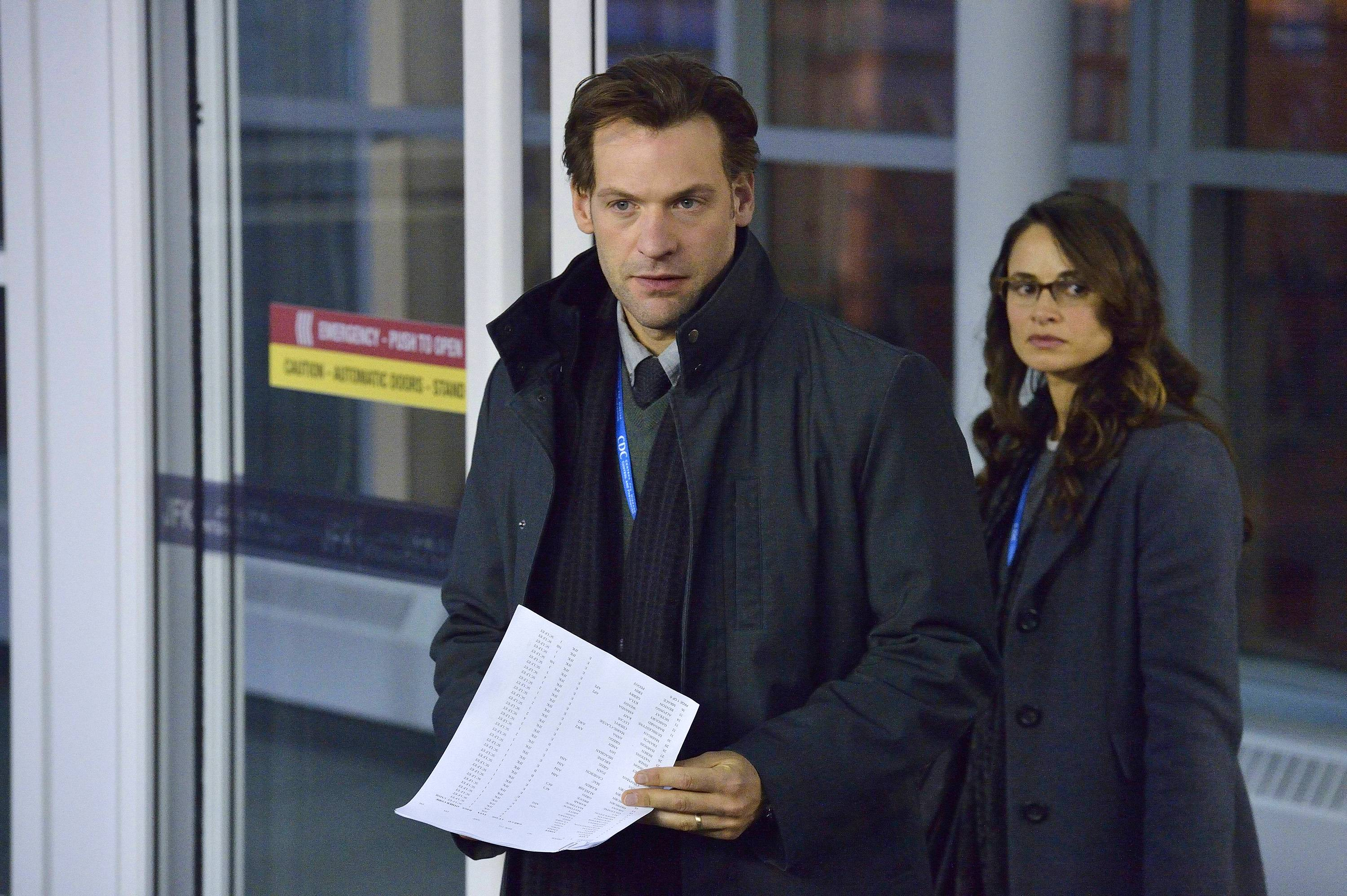 "Corey Stoll, along with Mia Maestro, stars as the head of a Centers for Disease Control task force battling a global threat in the new FX series ""The Strain,"" premiering Sunday, July 13."
