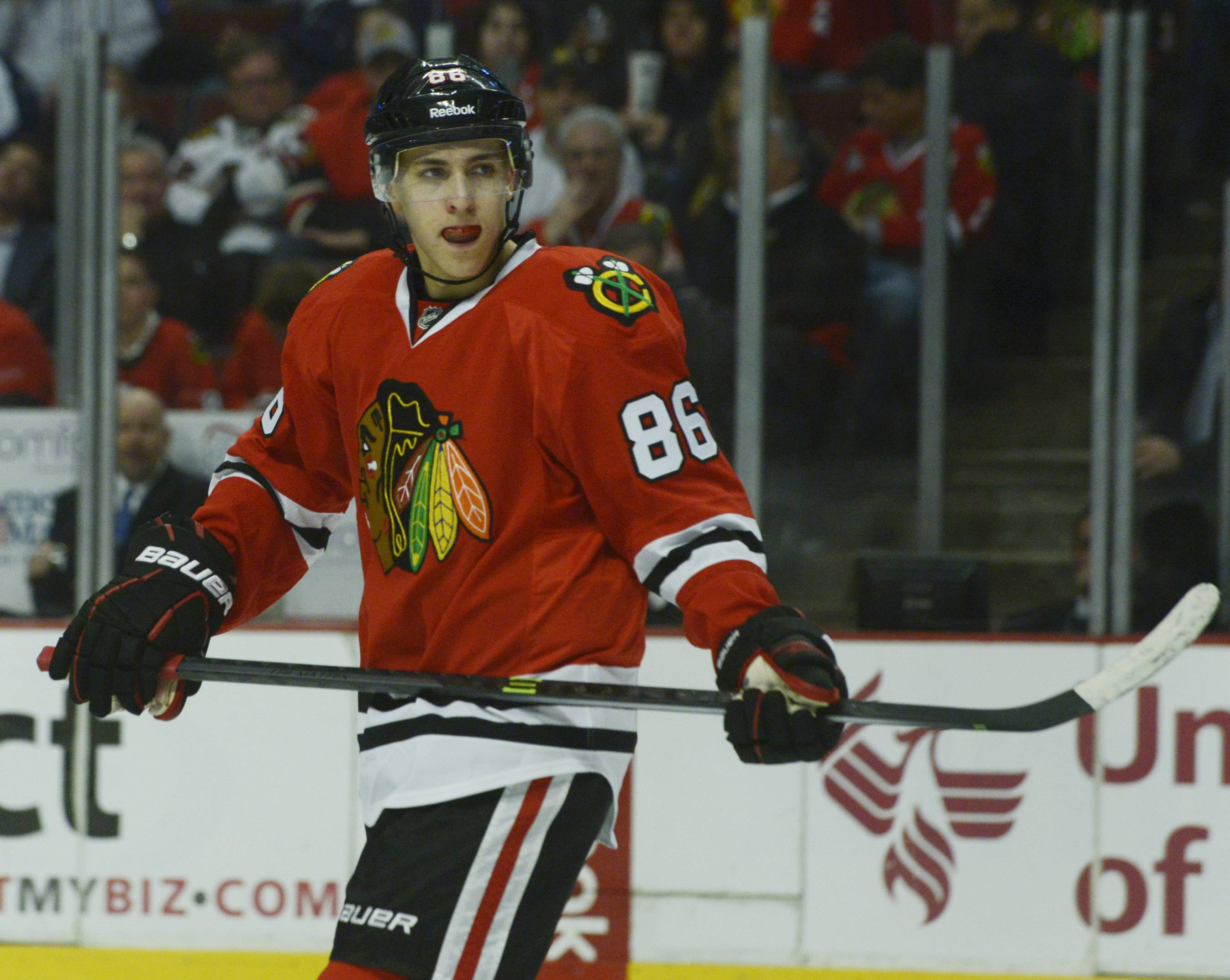 Teuvo Teravainen put on some muscle in the off-season and is hoping to play in Chicago and not Rockford when the Hawks begin their 2014-15 campaign.