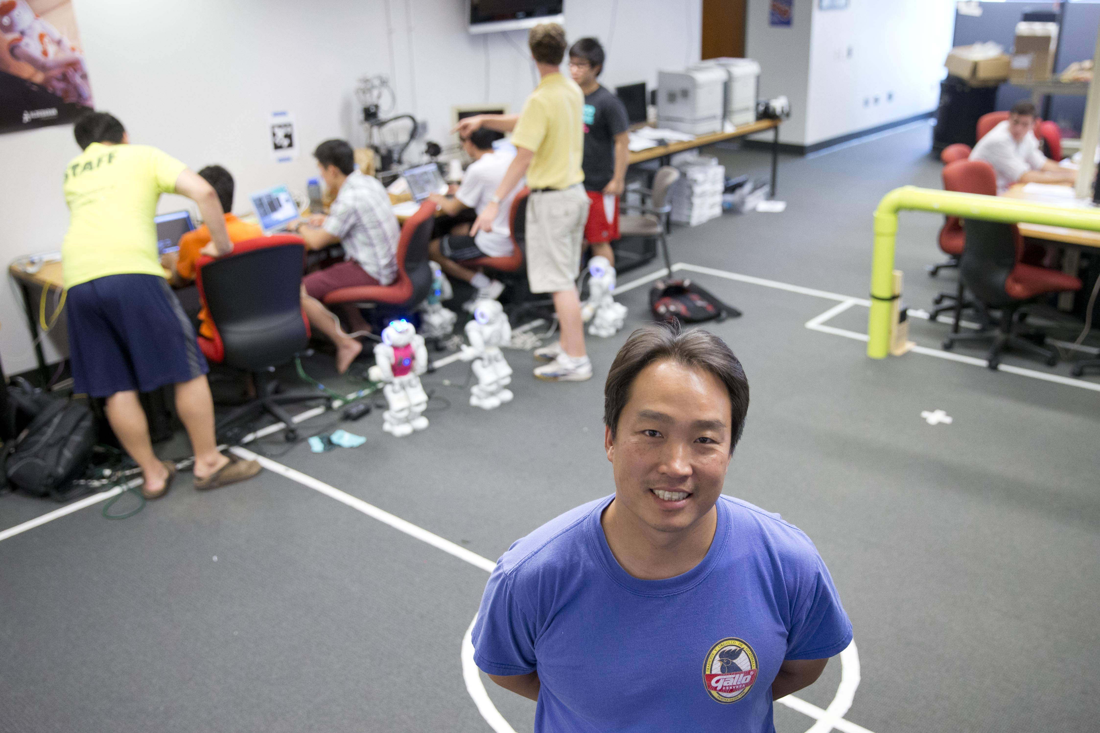 "University of Pennsylvania engineering professor Dan Lee, who directs Penn's robotics lab in Philadelphia, has been the head ""coach"" of the school's RoboCup soccer teams since 2002. Back then, the games resembled those played by 5-year-old children, Lee said."