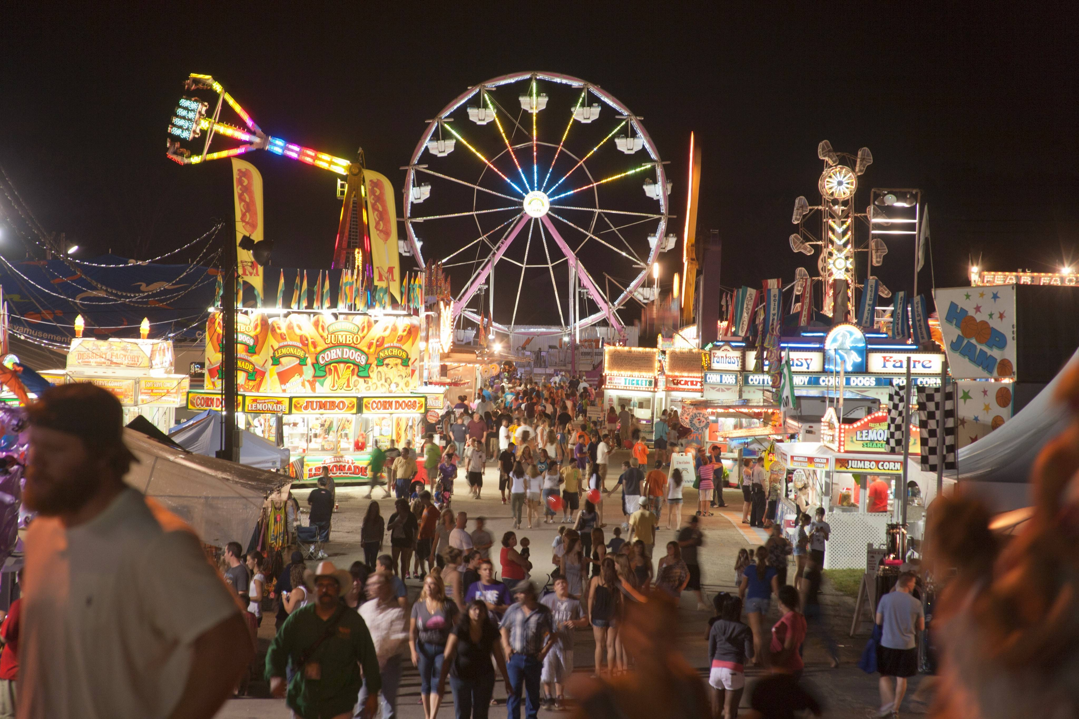 The fun goes on after dark at the DuPage County Fair.