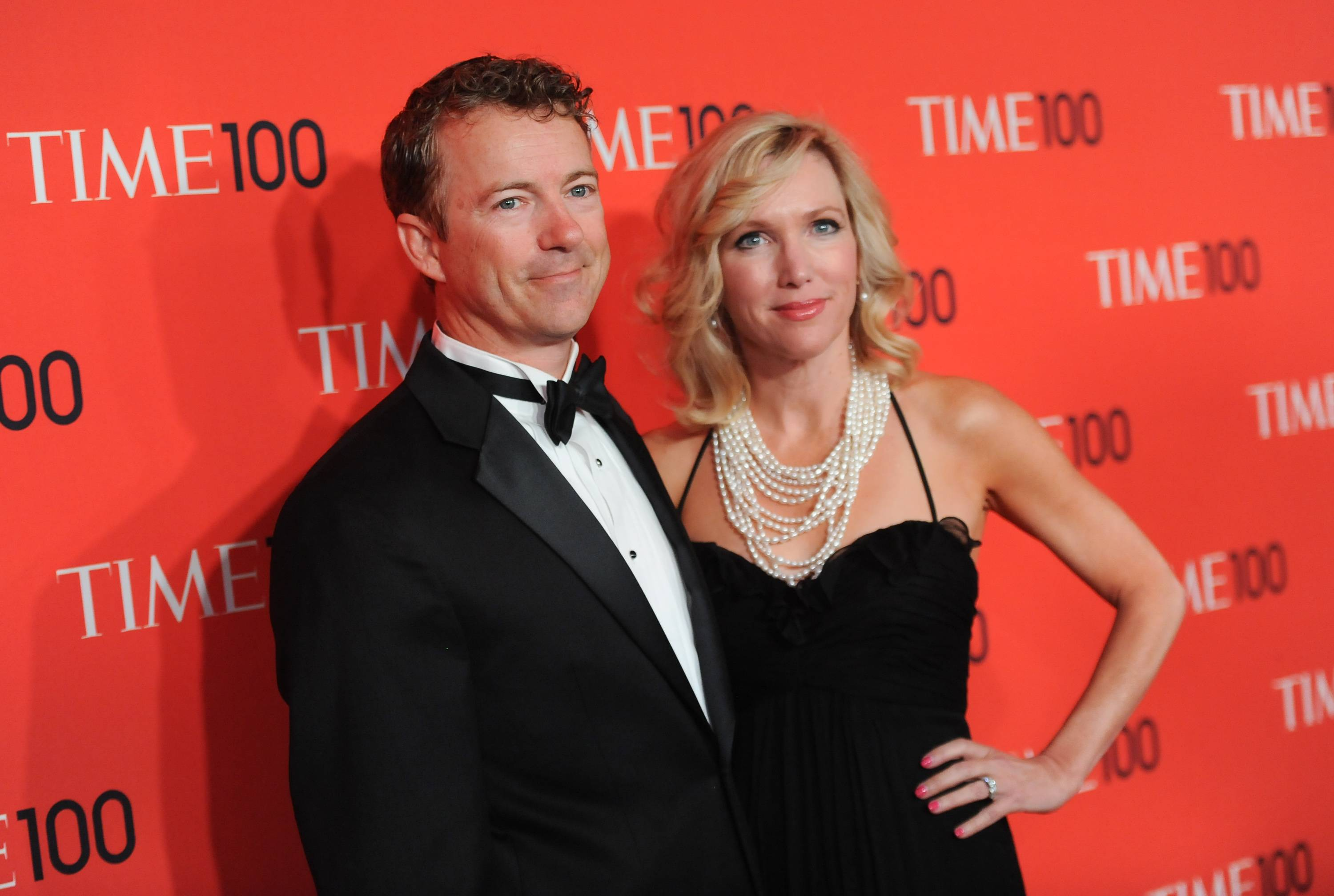 "Sen. Rand Paul is seen with his wife, Kelley Ashby. In the lead-up to the 2016 presidential campaign, Paul has made much of his wife being a hard sell. ""There's two votes in my family,"" he said when asked in December about running. ""My wife has both of them, and both of them are 'no' votes right now."""