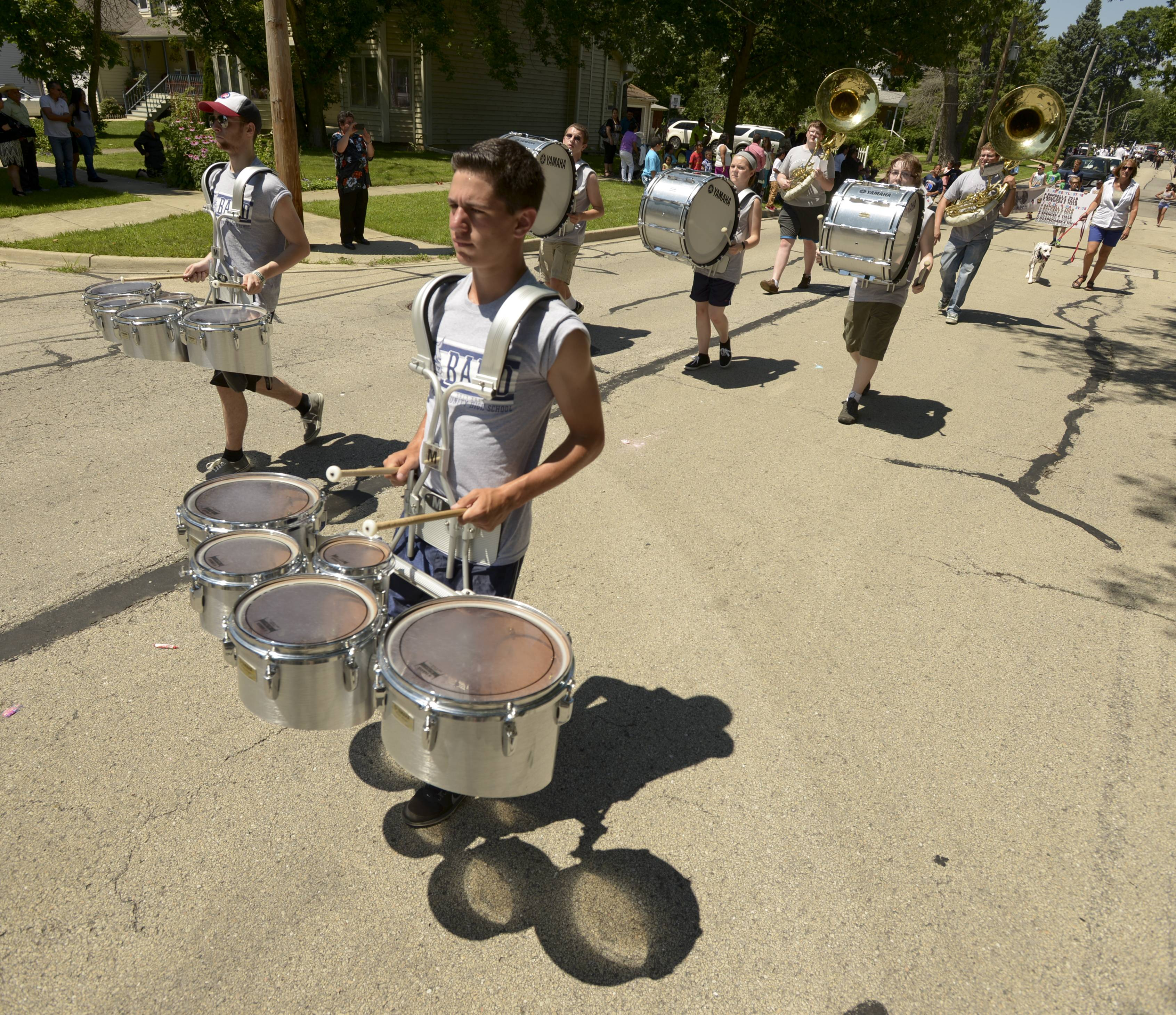 The West Chicago Community High School marching band performs Sunday in the annual Railroad Days Parade.