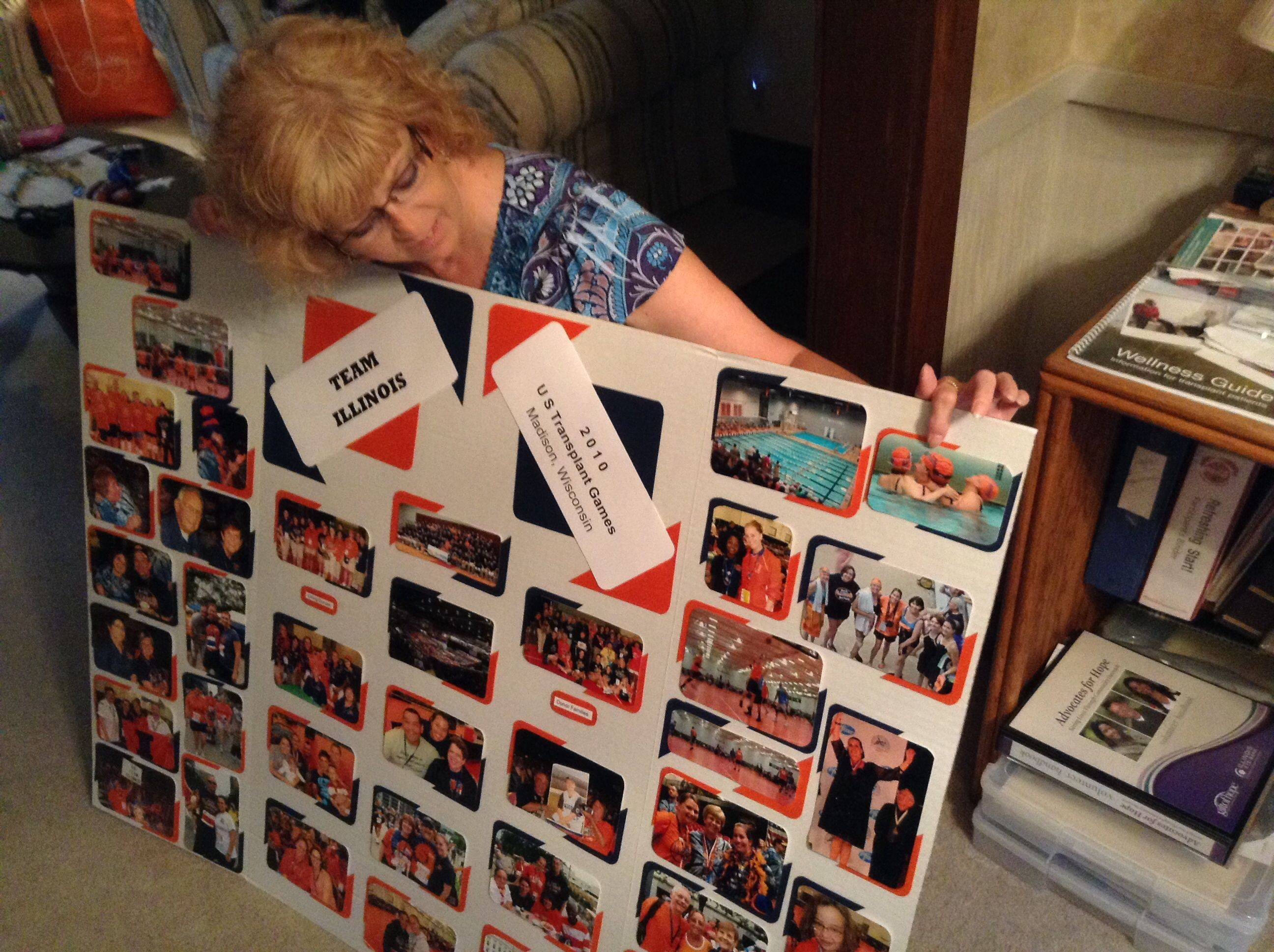 This display is part of the presentation Donna Stout has made to thousands of school students and others to promote organ donation. The Batavia wife and mother received a lifesaving transplanted heart in 2007.