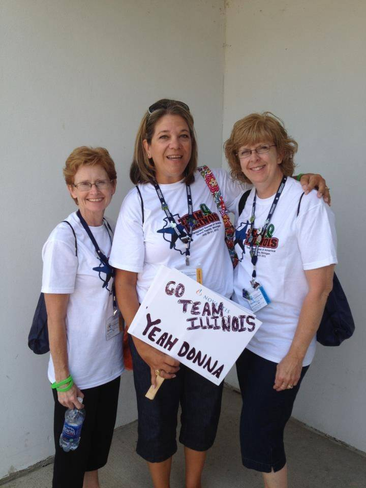 The Transplant Games of America are a celebration of life, says heart-transplant recipient Donna Stout, right, who will be swimming in today's events in Houston. Lifelong friends Pam Poczekaj, left, and Lisa Hohmann went to the last Games to cheer on Stout.