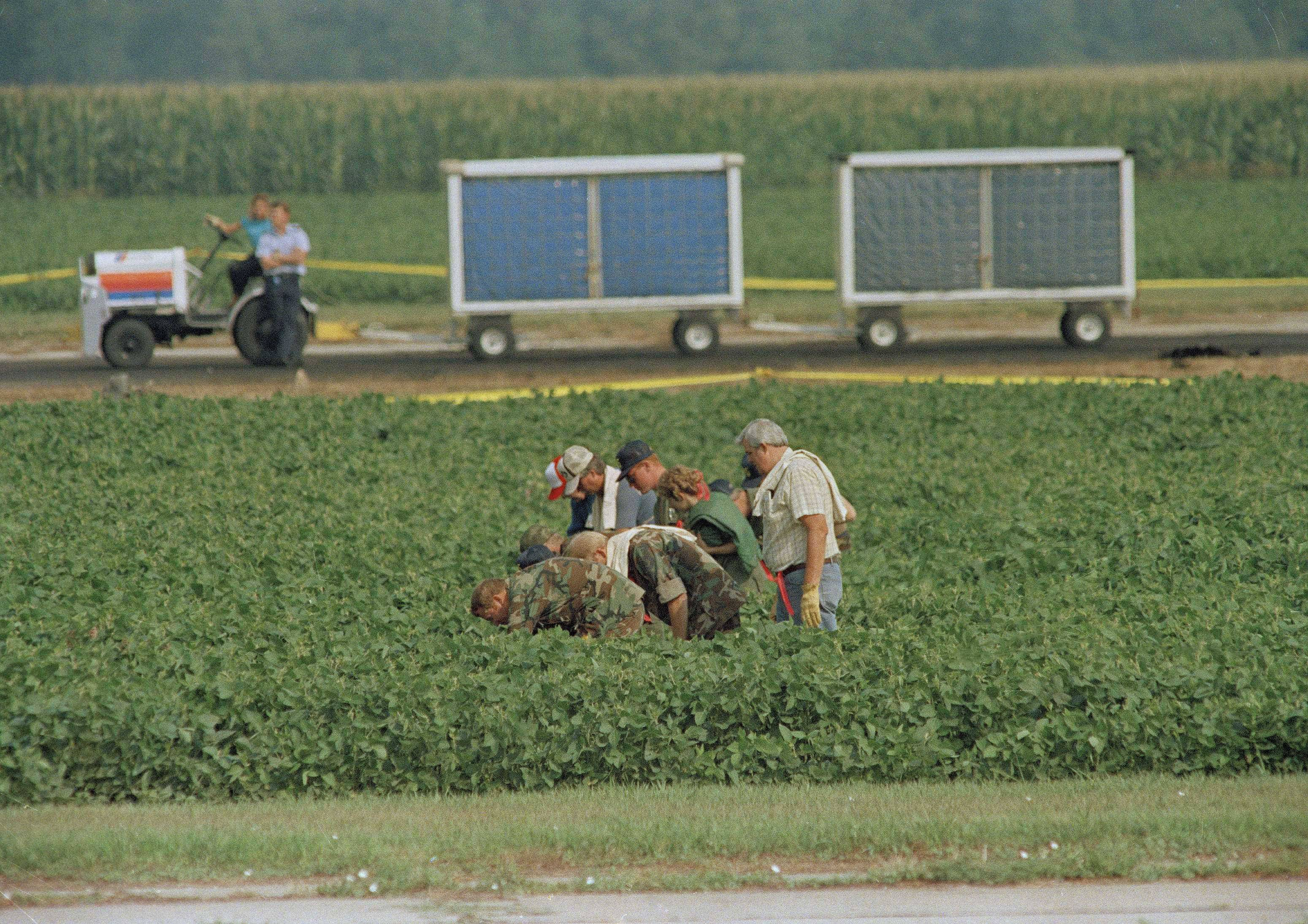 Searchers that include the Iowa Air National Guard in a bean field, July 21, 1989, bordering the runway where United Airlines 232 crash landed at Sioux City, Iowa.