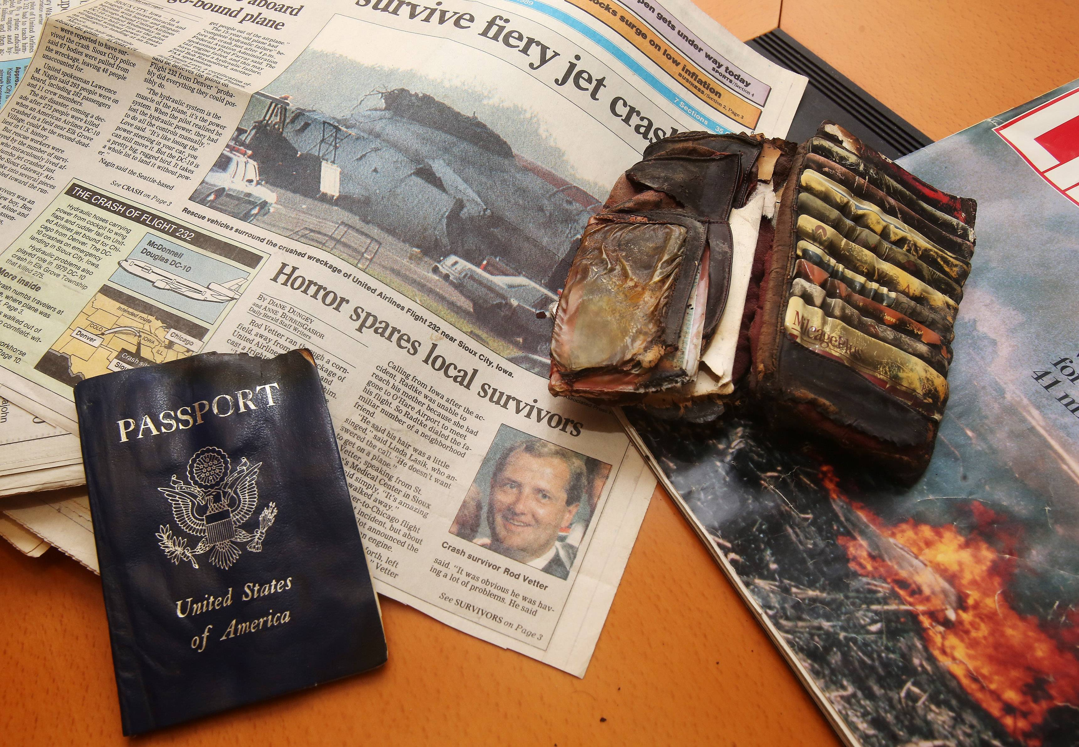 Items of Libertyville resident Rod Vetter as he describes his experience surviving the crash of United Airlines Flight 232 on July 19, 1989 in Sioux City, Iowa.