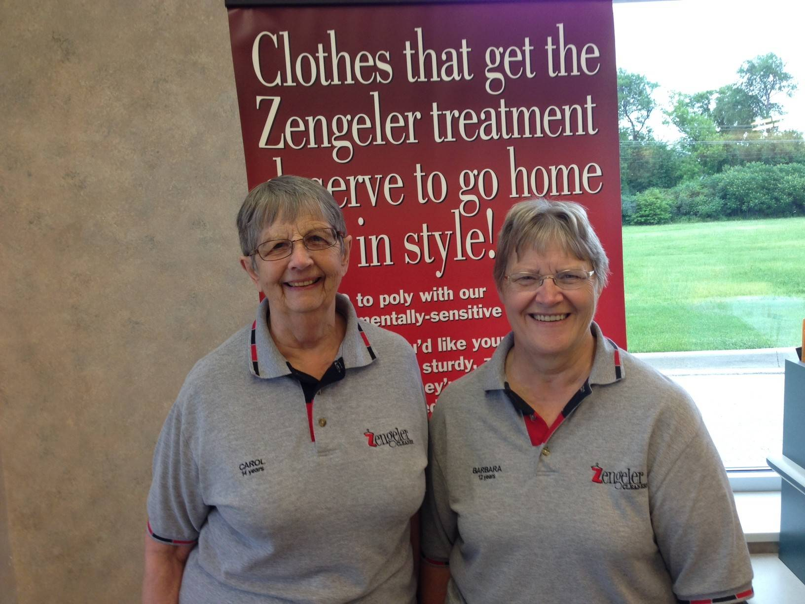 Carol Hartnett, left, and Barbara Geske retired from Zengeler Cleaners.