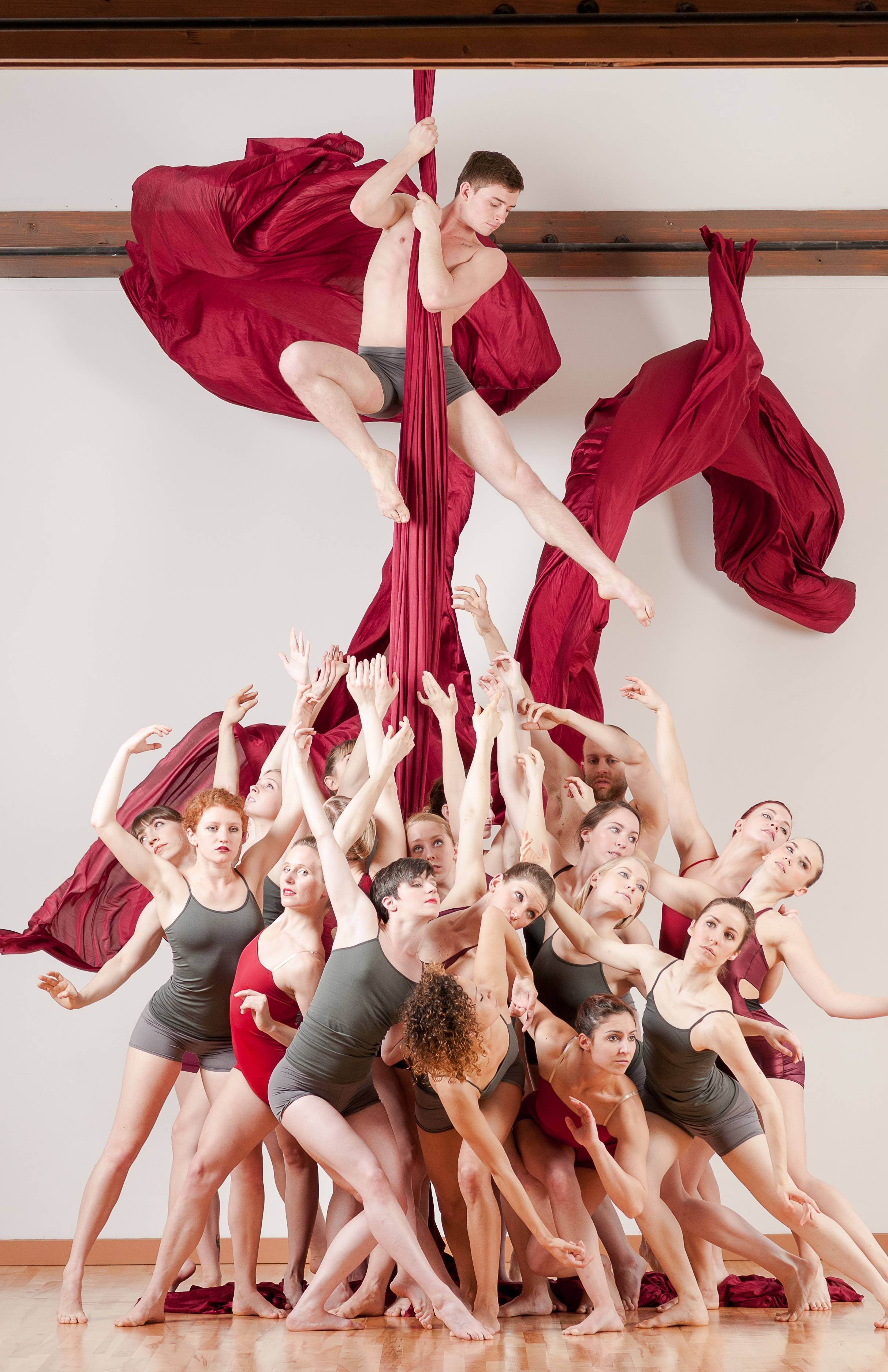 "Aerial Dance Chicago teams up with Elements Contemporary Ballet for the dancer concert""Silk and Steel"" on Saturday, July 19, at the North Shore Center for the Performing Arts in Skokie."