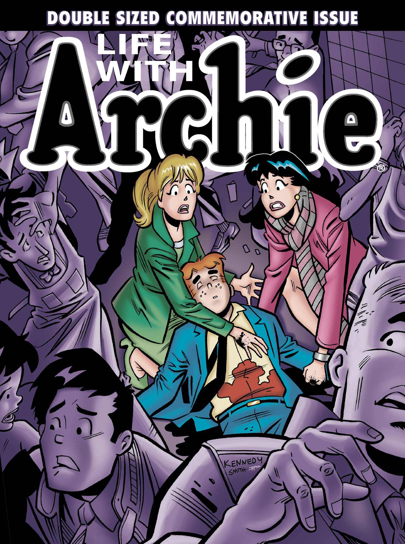 "The cover of the comic book, ""Life with Archie,"" issue 36. Archie Andrews will die taking a bullet for his gay best friend."