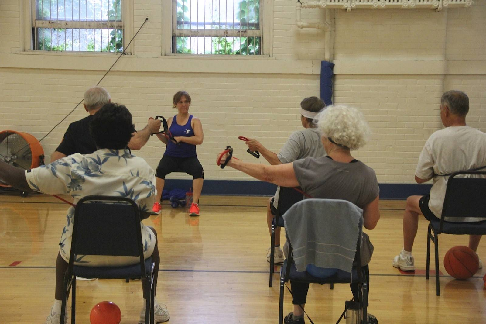 Kim Monti teaches a Silver Sneakers class at the Kroehler Family YMCA in Naperville.