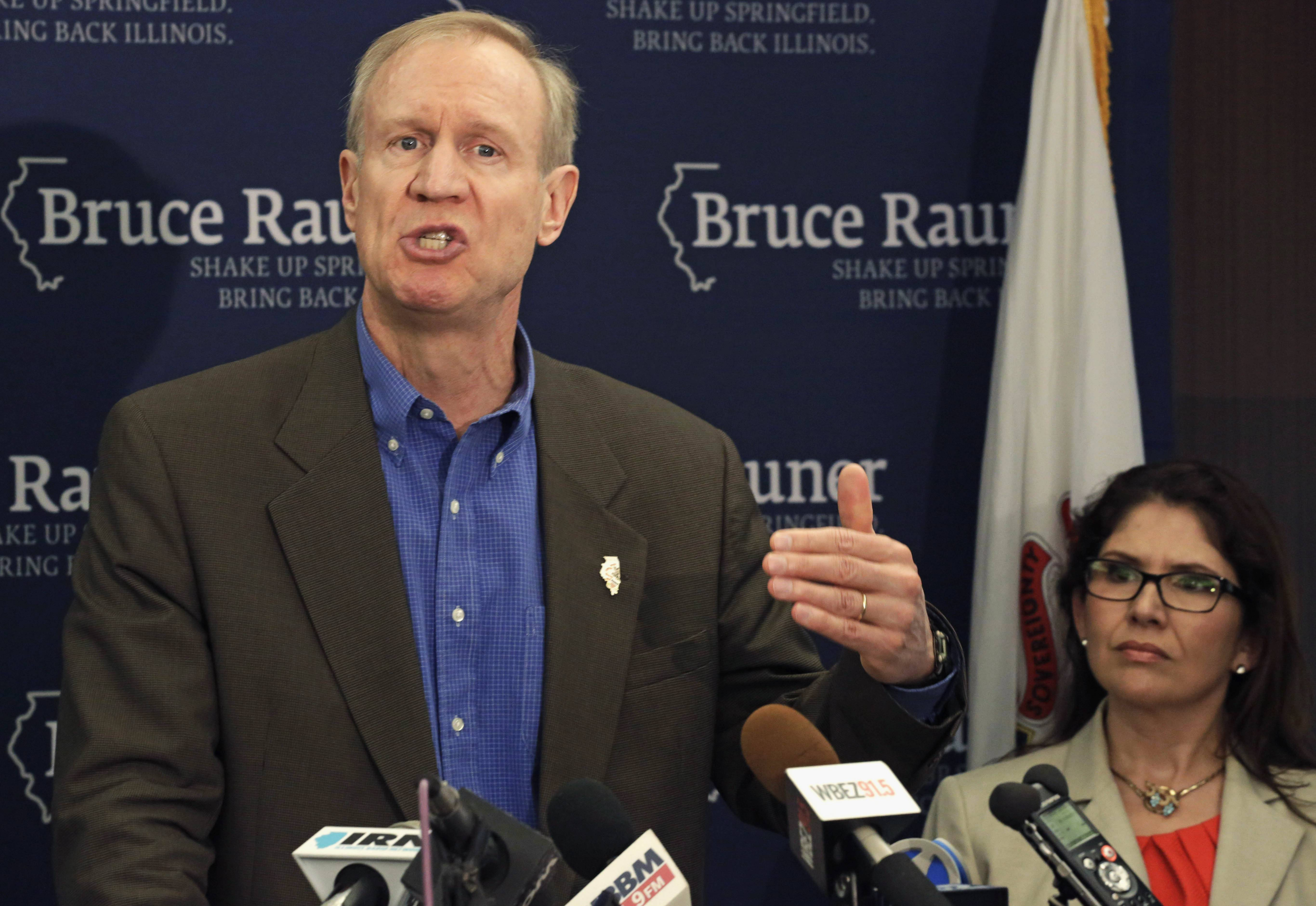 In this June 12 photo, Illinois GOP gubernatorial candidate Bruce Rauner speaks at a news conference accompanied by his running mate Evelyn Sanguinetti in Chicago. Democrats ripped Rauner Monday on new allegations a chain of long-term care homes owned by one of Rauner's former companies has faced lawsuits and state inspections because of the death and mistreatment of residents. Meanwhile, Rauner blasted Gov. Pat Quinn for his failures in the black community.