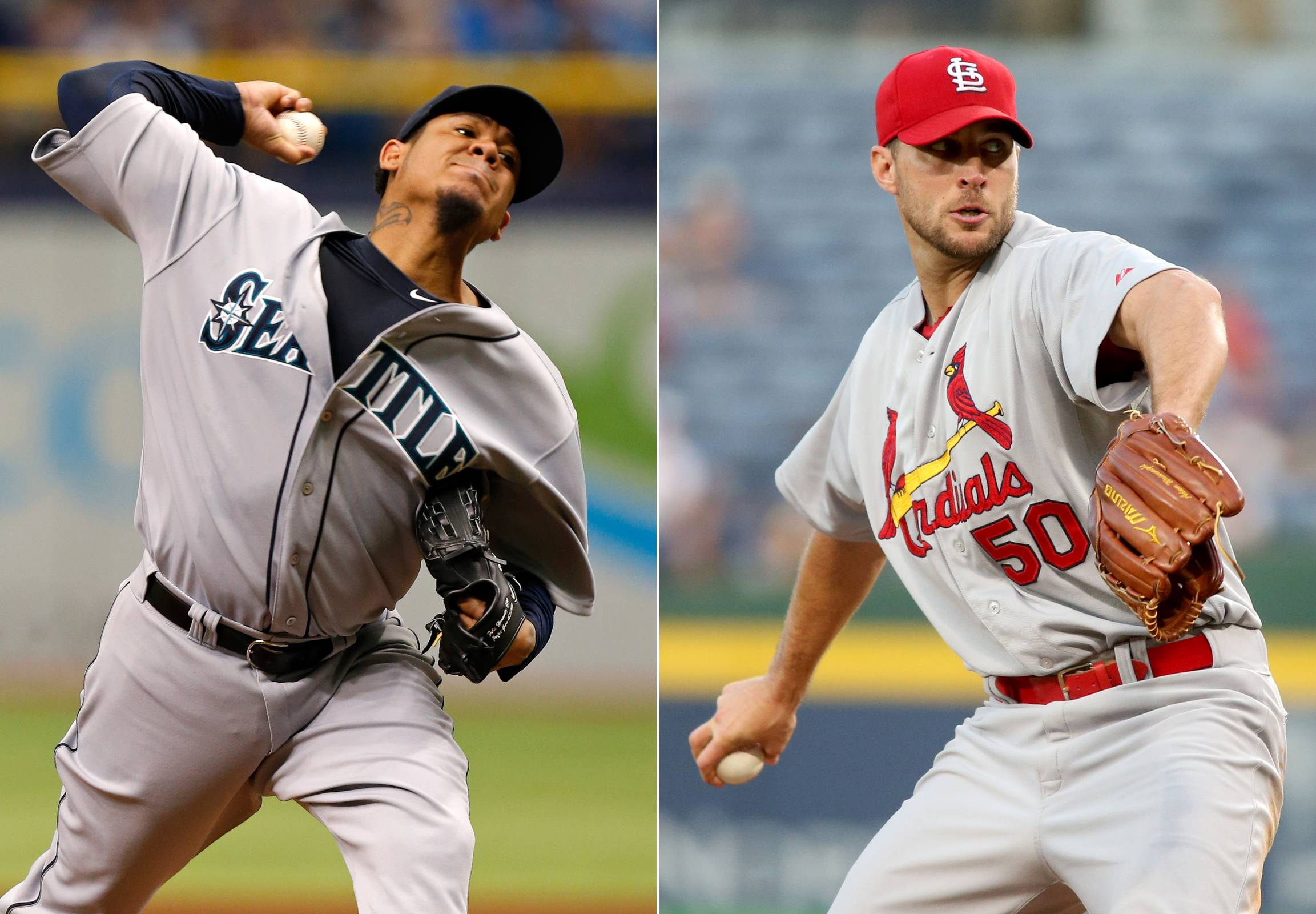 Seattle Mariners starting pitcher Felix Hernandez, left, and St. Louis Cardinals starting pitcher Adam Wainwright will start Tuesday night's all-star game.