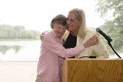 Susie Mahon, left, hugs Judy Cashen, right, after she is selected as the Garden's Super at an awards reception on June 11, 2014 at the Chicago Botanic Garden. Robin Carlson