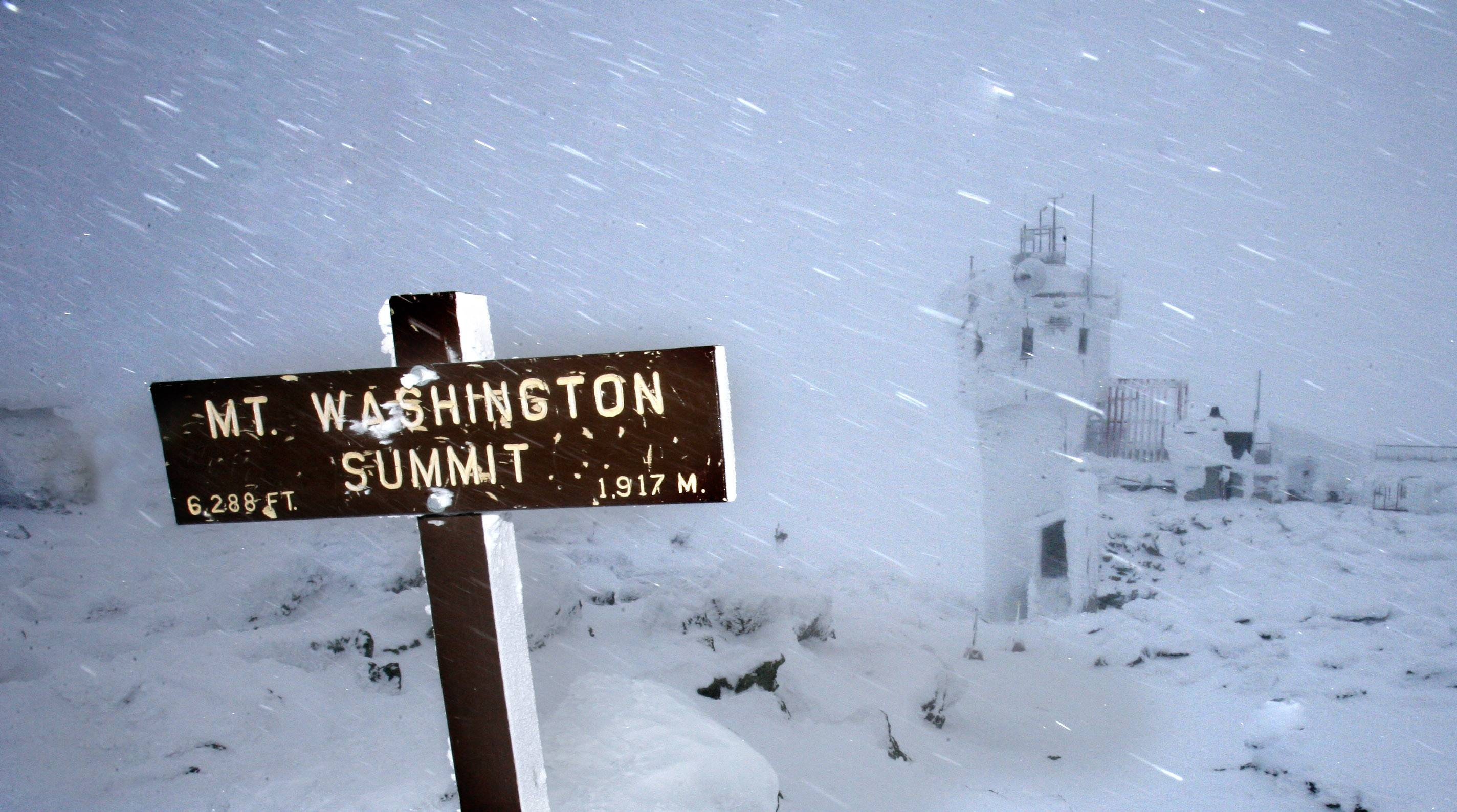 Wind and driving snow are seen on the top of the highest peak in the Northeast, Mount Washington, in New Hampshire.