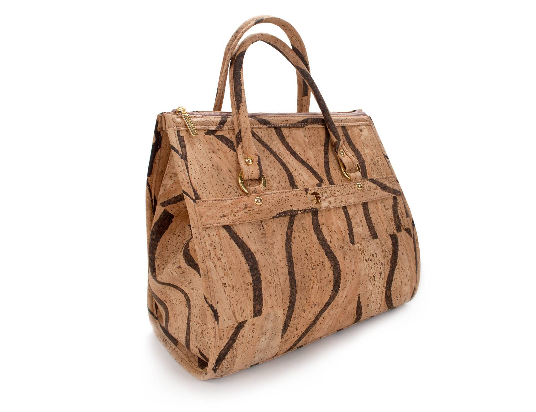 This Okapi handbag is made of cork fabric. Embraced by some progressive furniture makers decades ago and a staple in housewares, cork has found a larger place among shoes, handbags, jewelry and other fashion accessories.