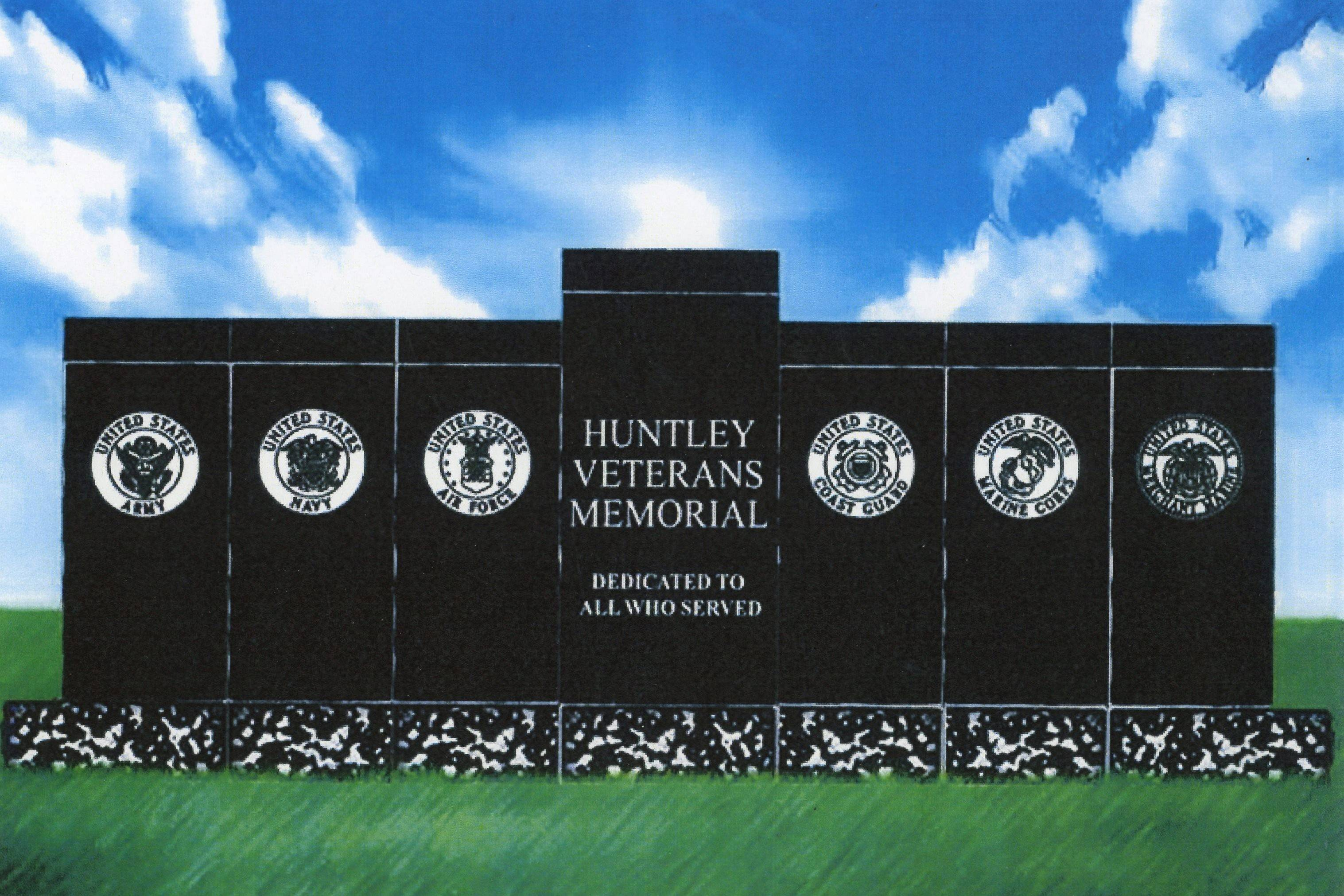 This is an artist's rendering of a proposed veterans memorial in Huntley, which might be located near the village hall. A group of local volunteers are raising funds for the project.