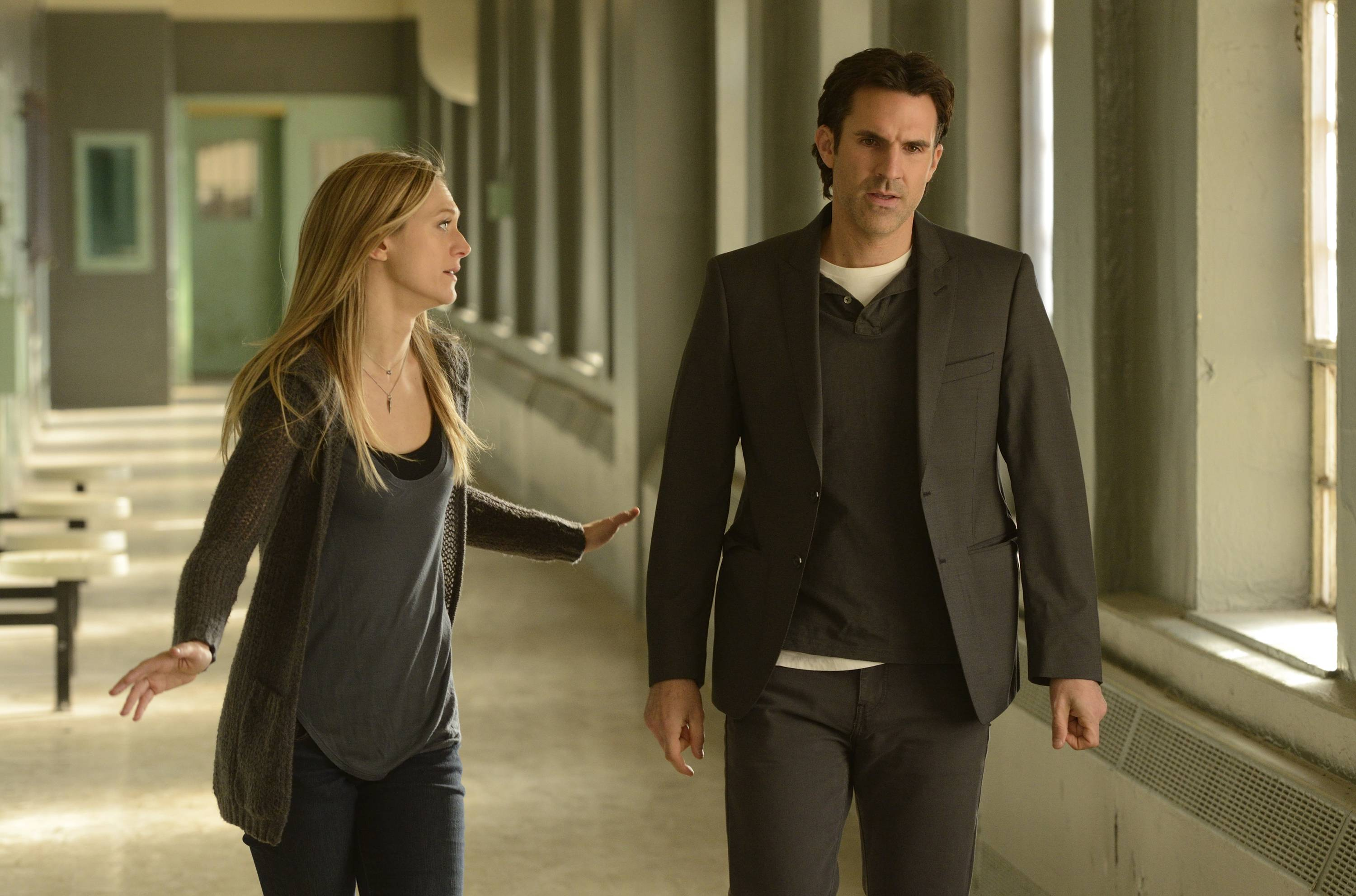 "Marin Ireland, left, and Paul Schneider in a scene from the series, ""The Divide,"" premiering July 16 at 8 p.m."