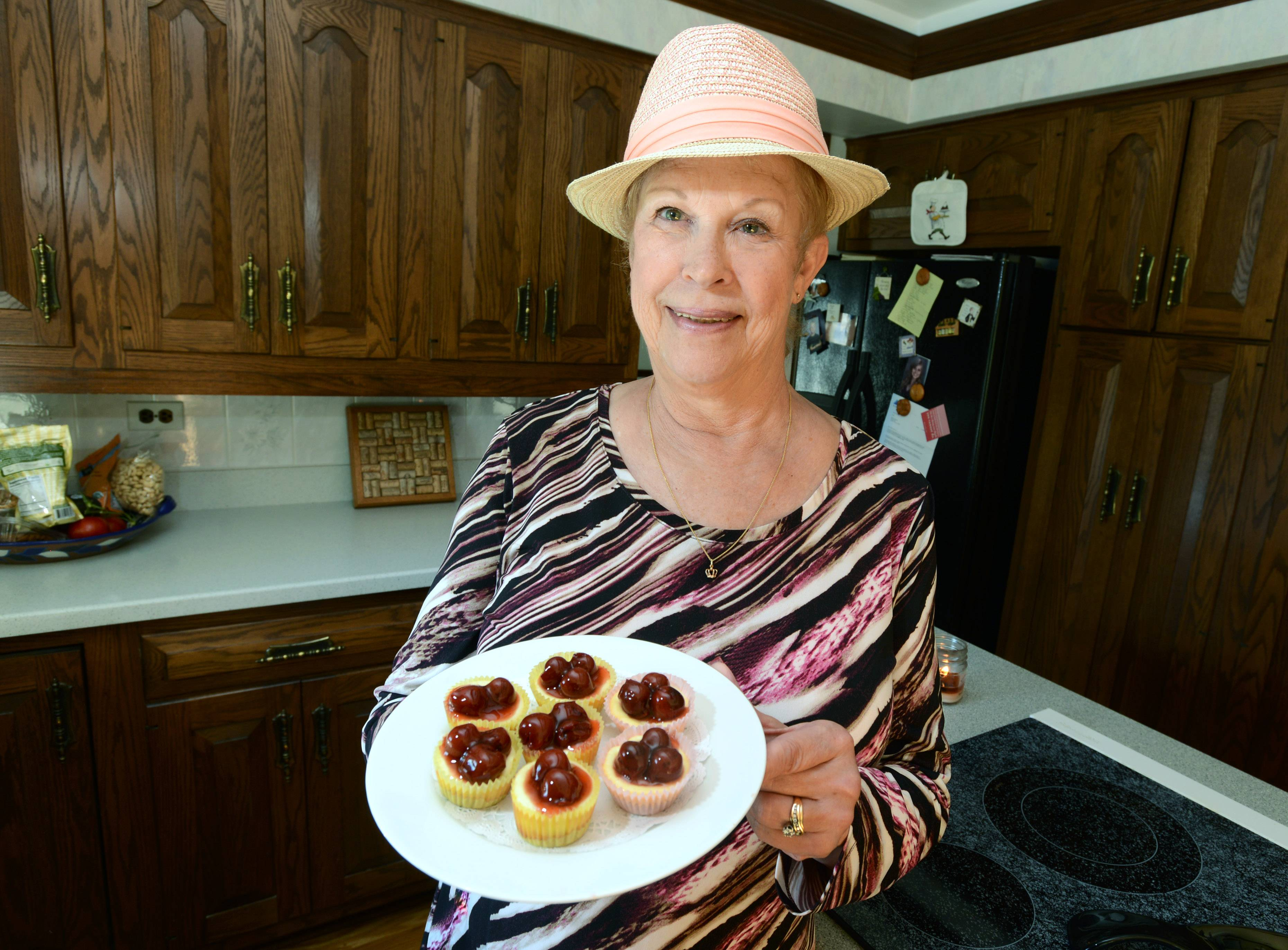Mini cherry cheesecakes she calls Jen's Jems are just one of J'Ann Tharnstrom specialties.