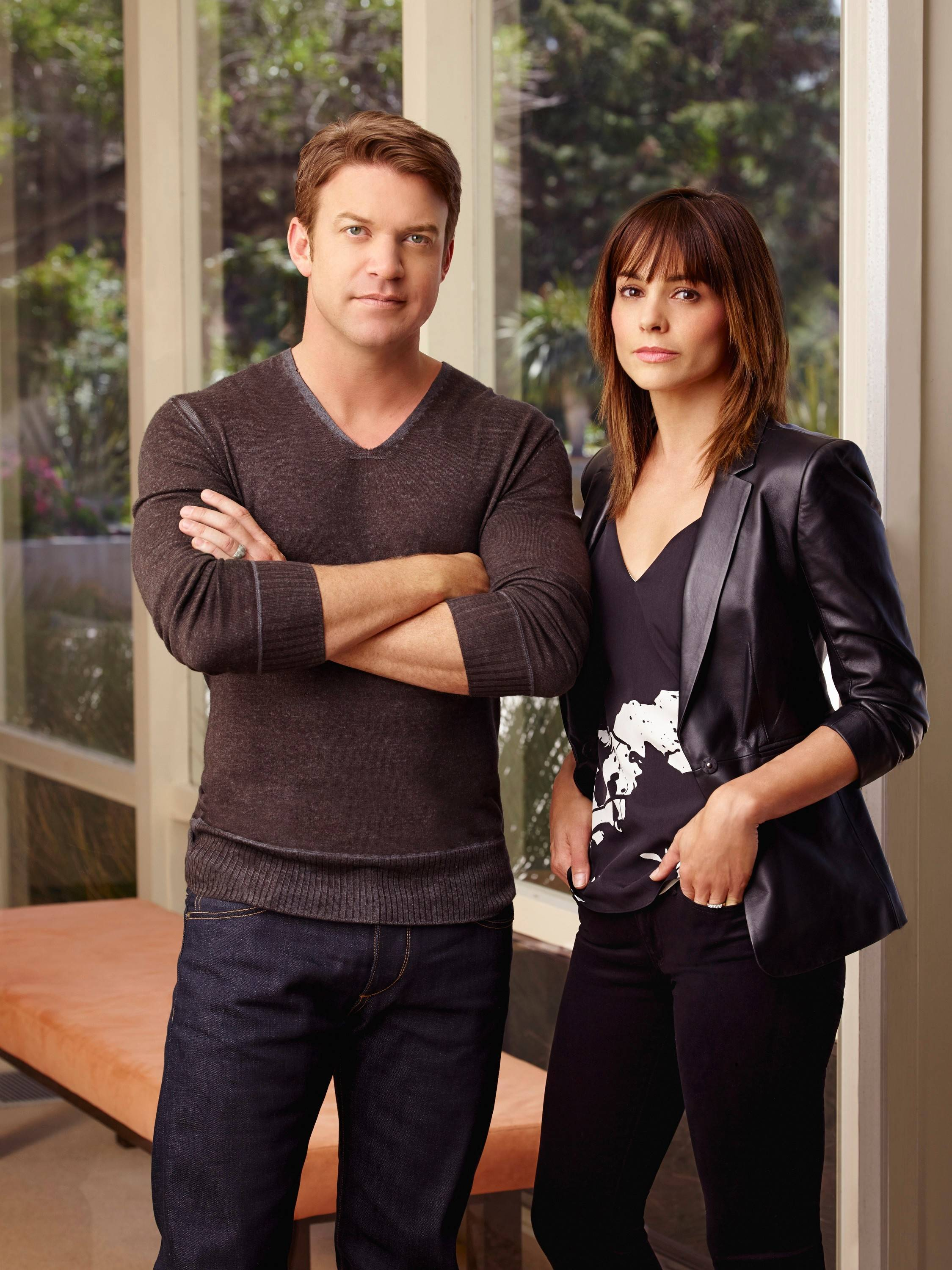 "Neil (Matt Passmore) and Grace Truman (Stephanie Szostak) confront their lives and unhappy marriage in USA's ""Satisfaction."""