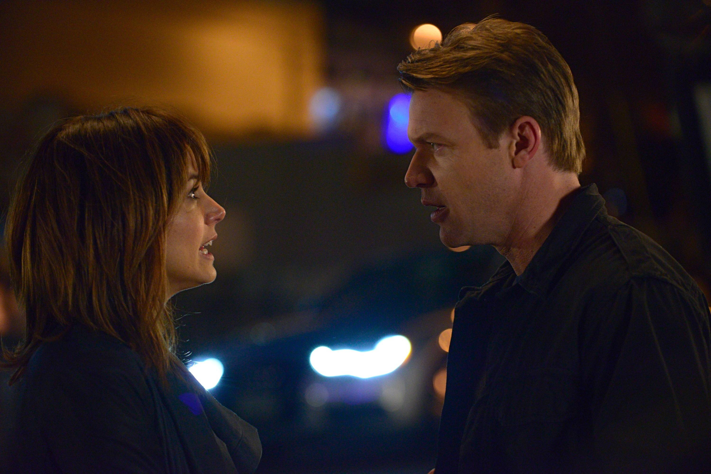 "Grace (Stephanie Szostak) and Neil (Matt Passmore) Truman confront their lives and unhappy marriage in USA's ""Satisfaction."""
