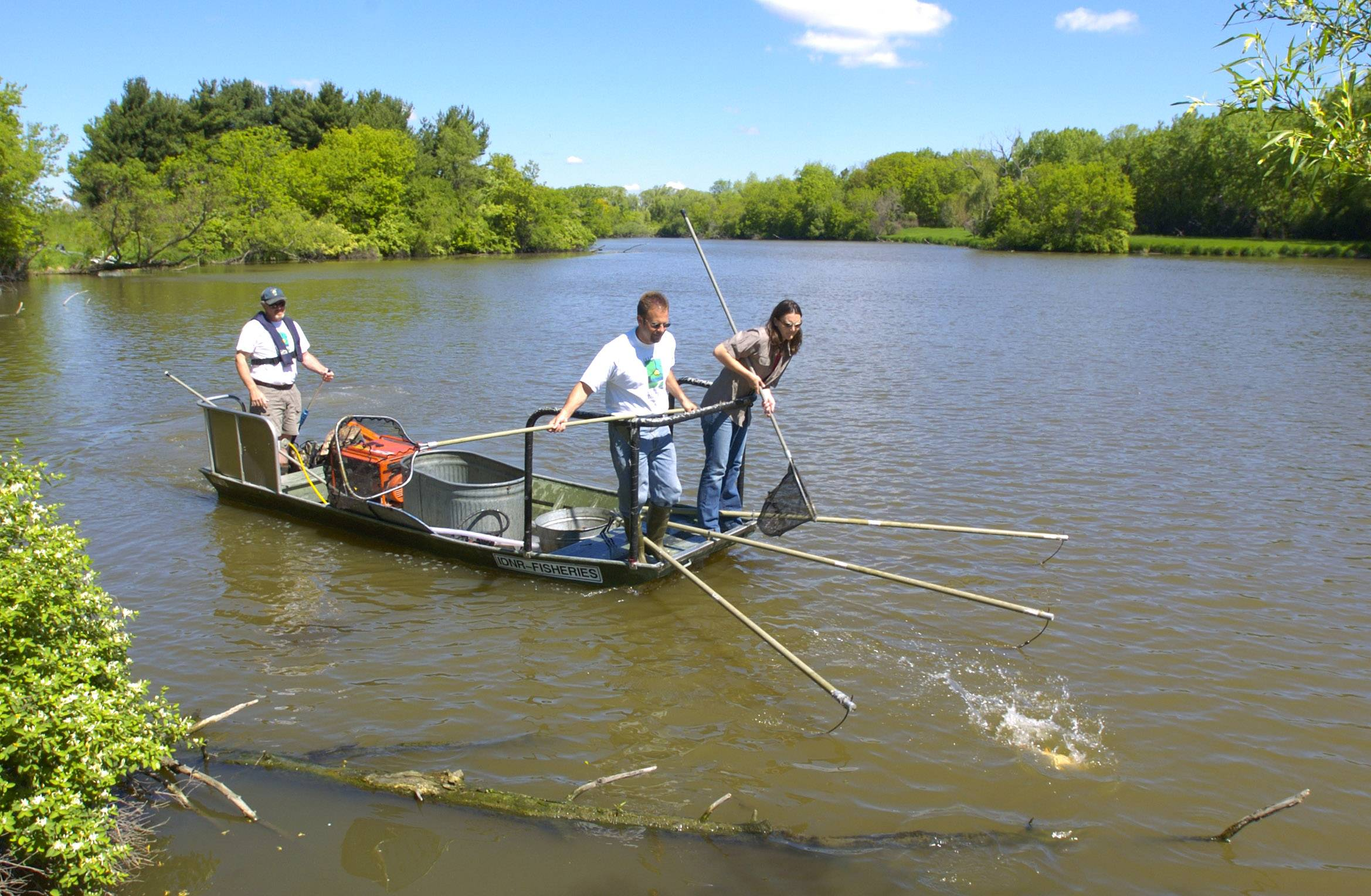 An electric current and nets are used to retrieve fish from Rasmussen Lake near Antioch.