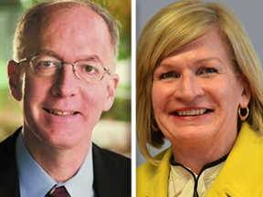 Democrat Bill Foster, left, and Republican Darlene Senger, right, are candidates for the 11th Congressional District.