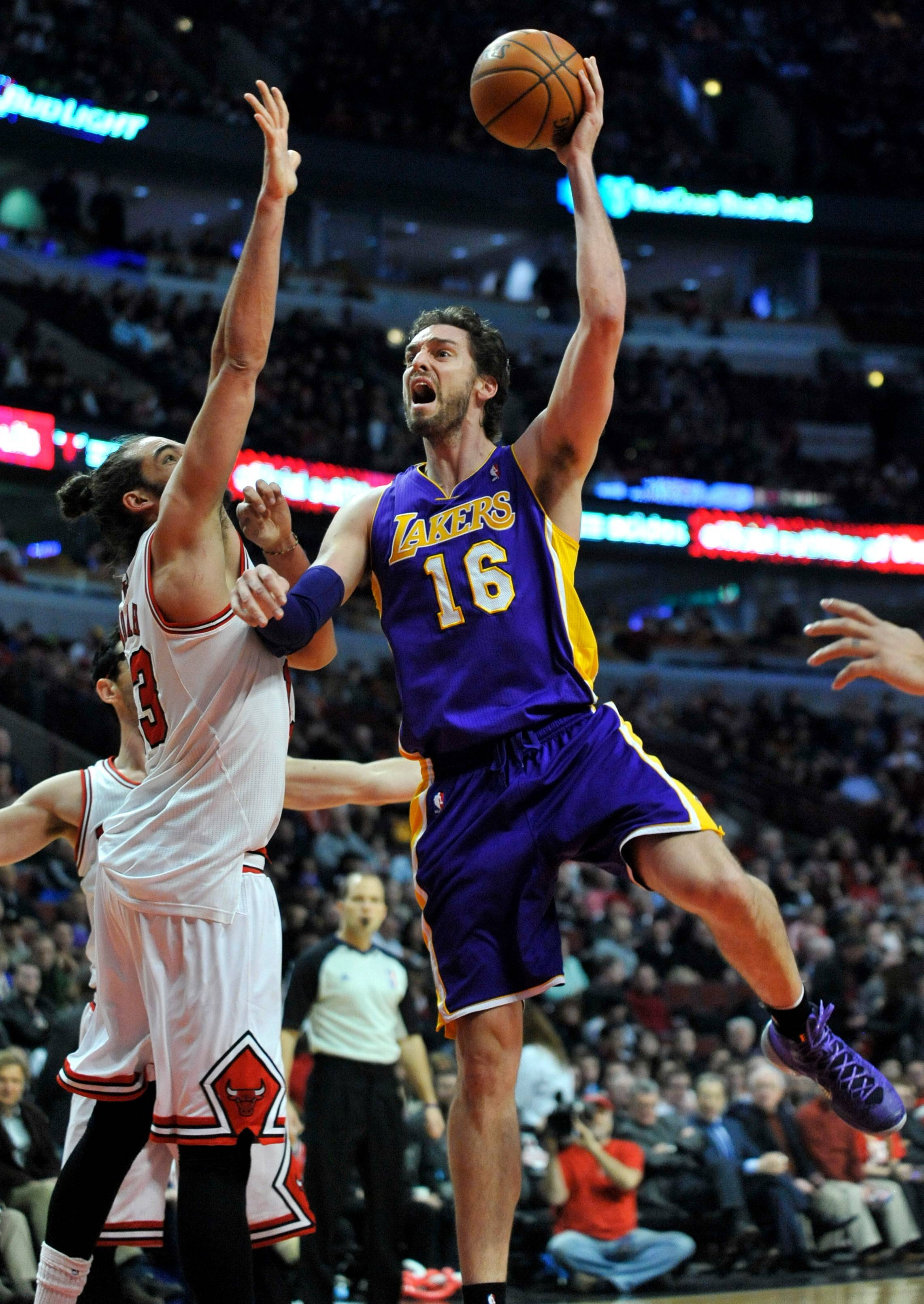 Pau Gasol (16), who signed with the Chicago Bulls, averaged 17.4 points and 9.4 rebounds per game last season for the Los Angeles Lakers.