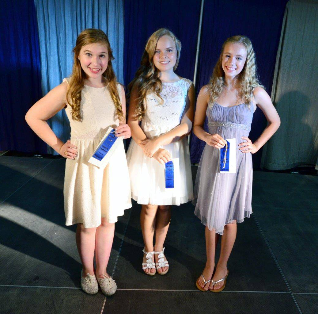 Kane County Fair Talent Contest winners in the Junior Division are shown, from left, Grace Lenaghan of St. Charles, third place; Sophia Peterson of Elgin, first place; and Olivia Kelley of Geneva, second place.