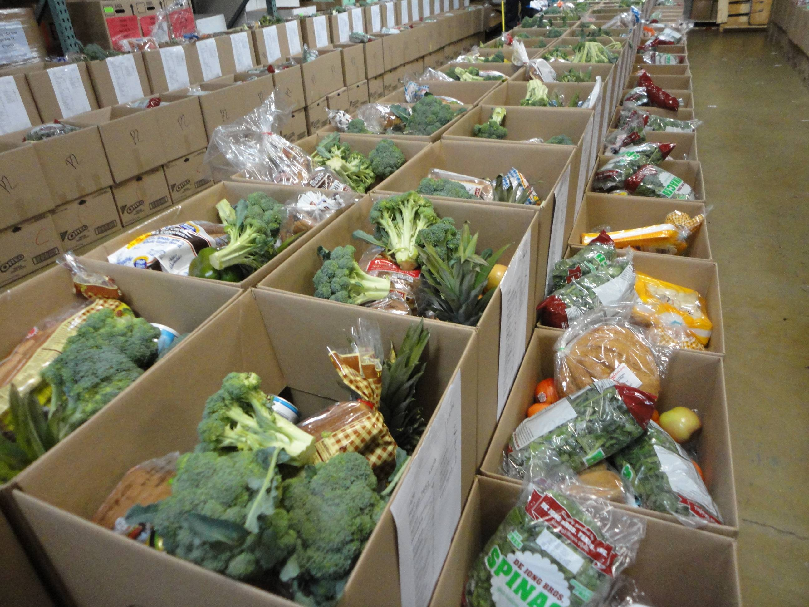 Fresh produce arranged to be distributed to needy families through the Humanitarian Service Project's Feed the Kids program on July 9.
