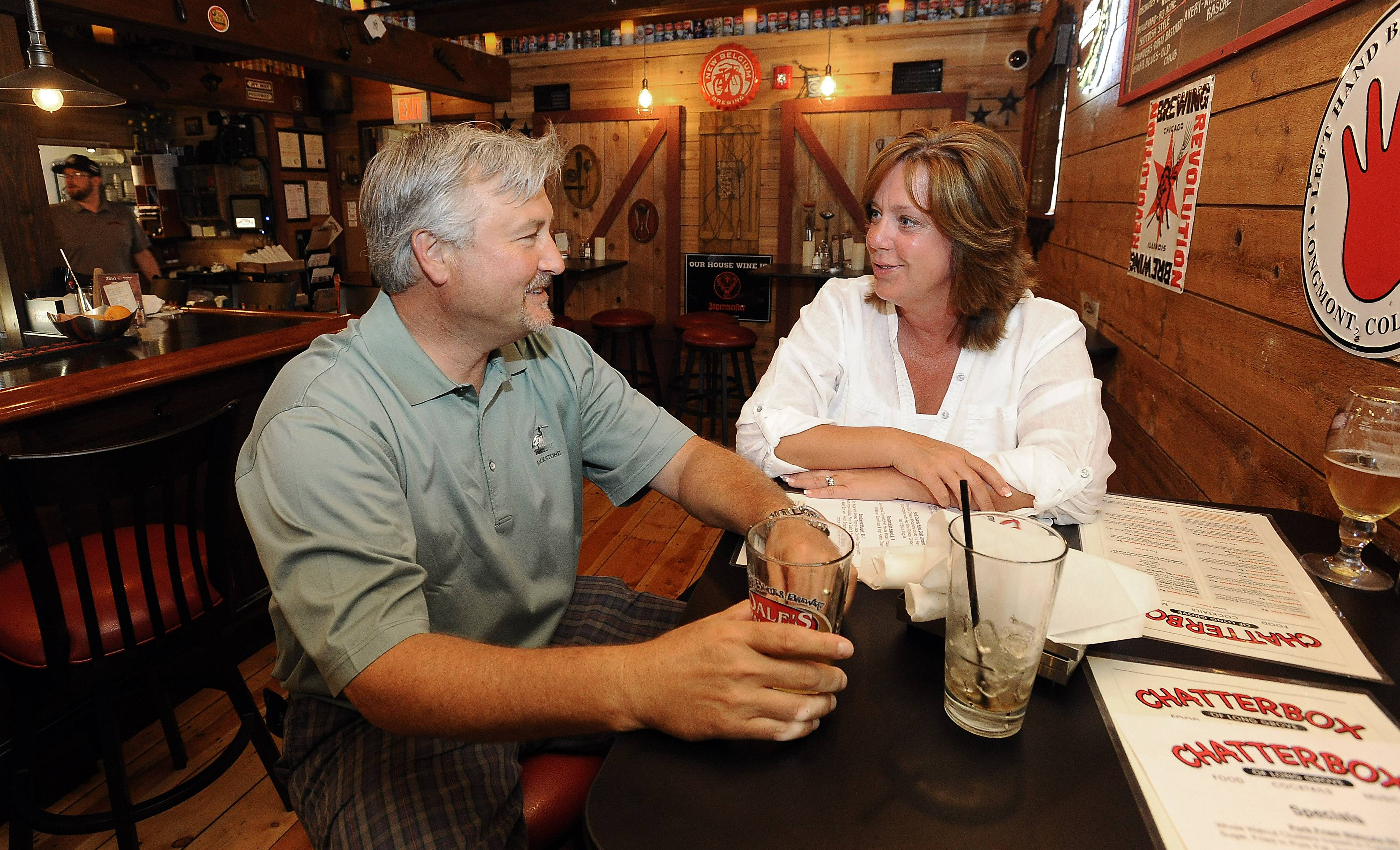 Kevin and Chrissie Wilson of Hawthorn Woods enjoy drinks and dinner at the Chatterbox of Long Grove.