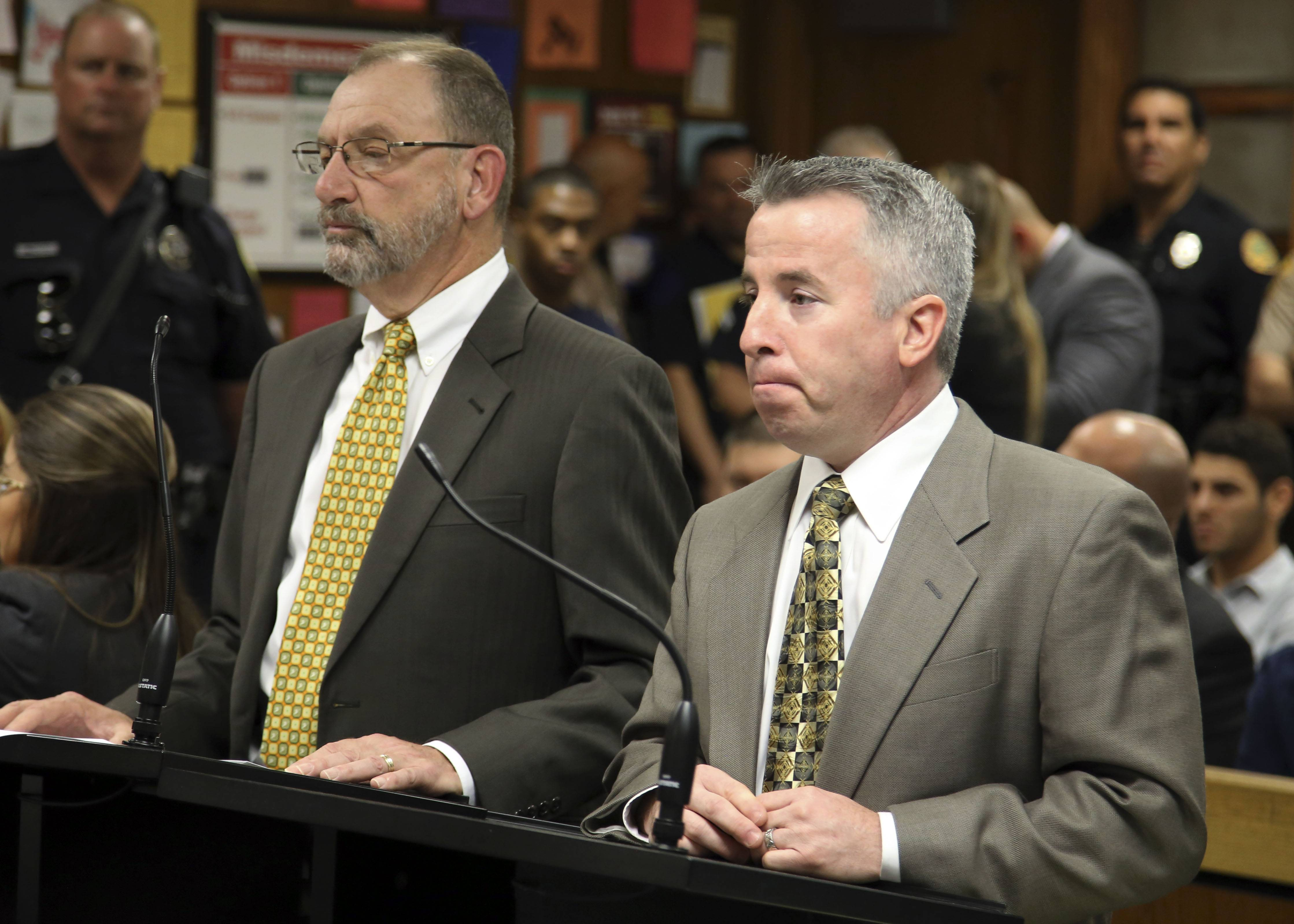 Assistant state attorney David Gilbert, left, and defense attorney Mark Shapiro, right, said Wednesday they need more time to work out a possible plea deal on charges that pop star Justin Bieber drove under the influence and resisted arrest.