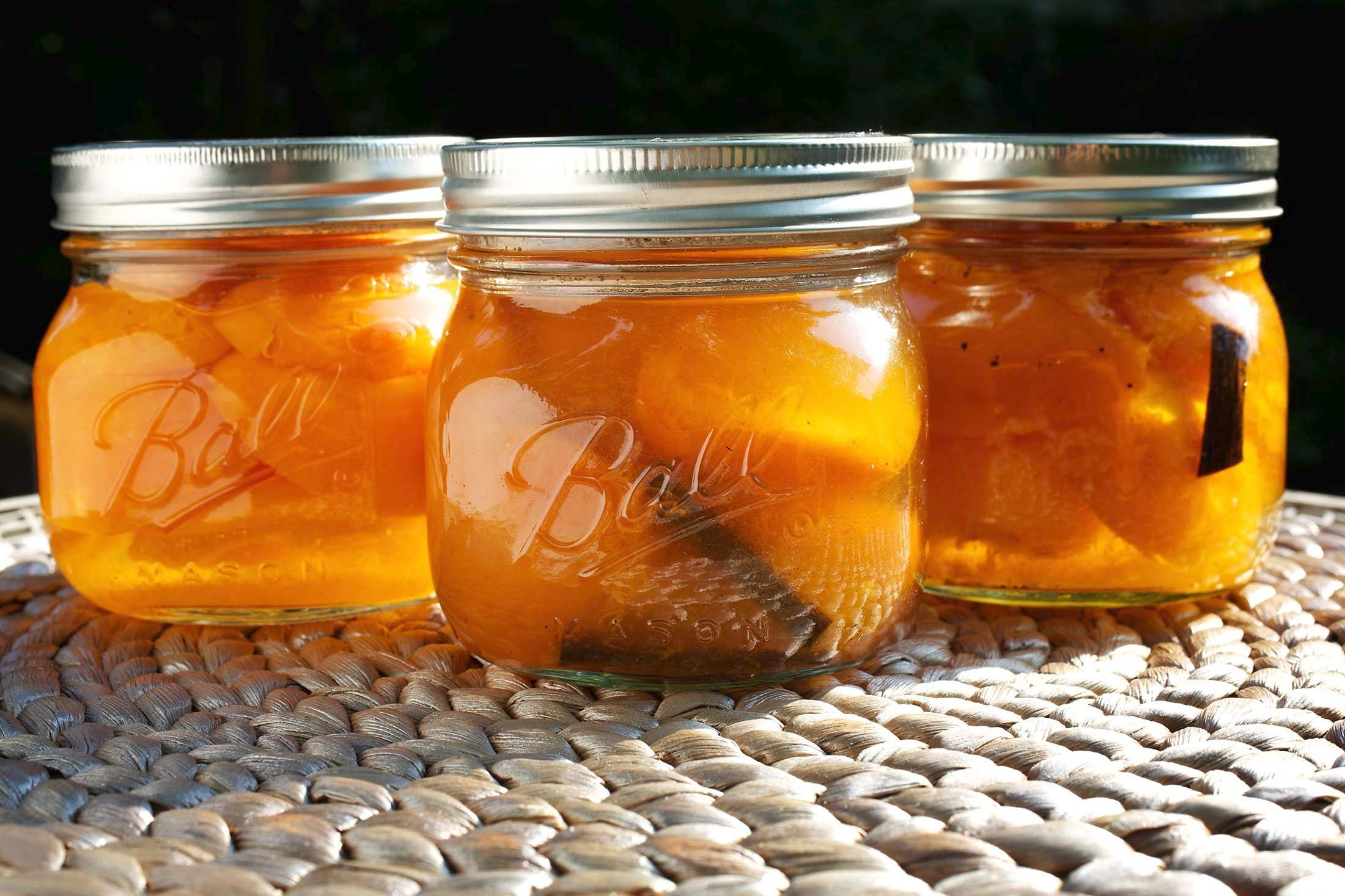 Fragrant apricots that have no green patches are prefect candidates for preserving in a sweet syrup.
