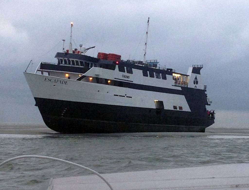 The casino boat Escapade, with 123 people aboard, is grounded off the coast of Tybee Island, Ga., Wednesday.