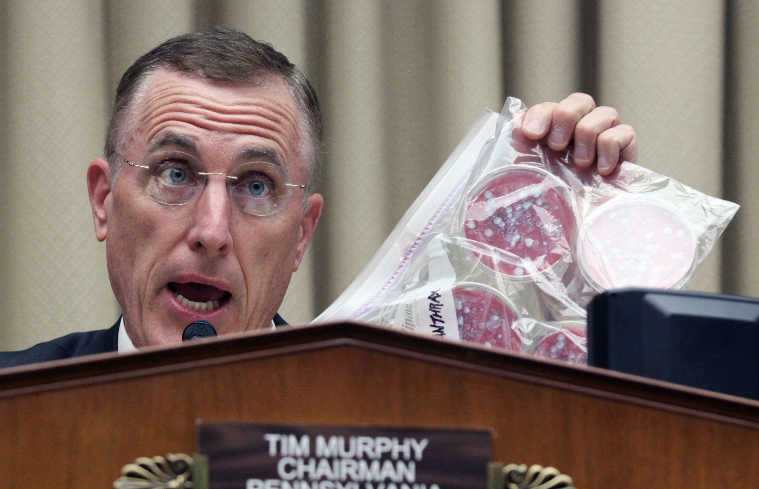 House Oversight and Investigations subcommittee Chairman Rep. Tim Murphy holds a bag to illustrate how poorly some strains of dangerous diseases are stored by the Centers for Disease Control and Prevention.