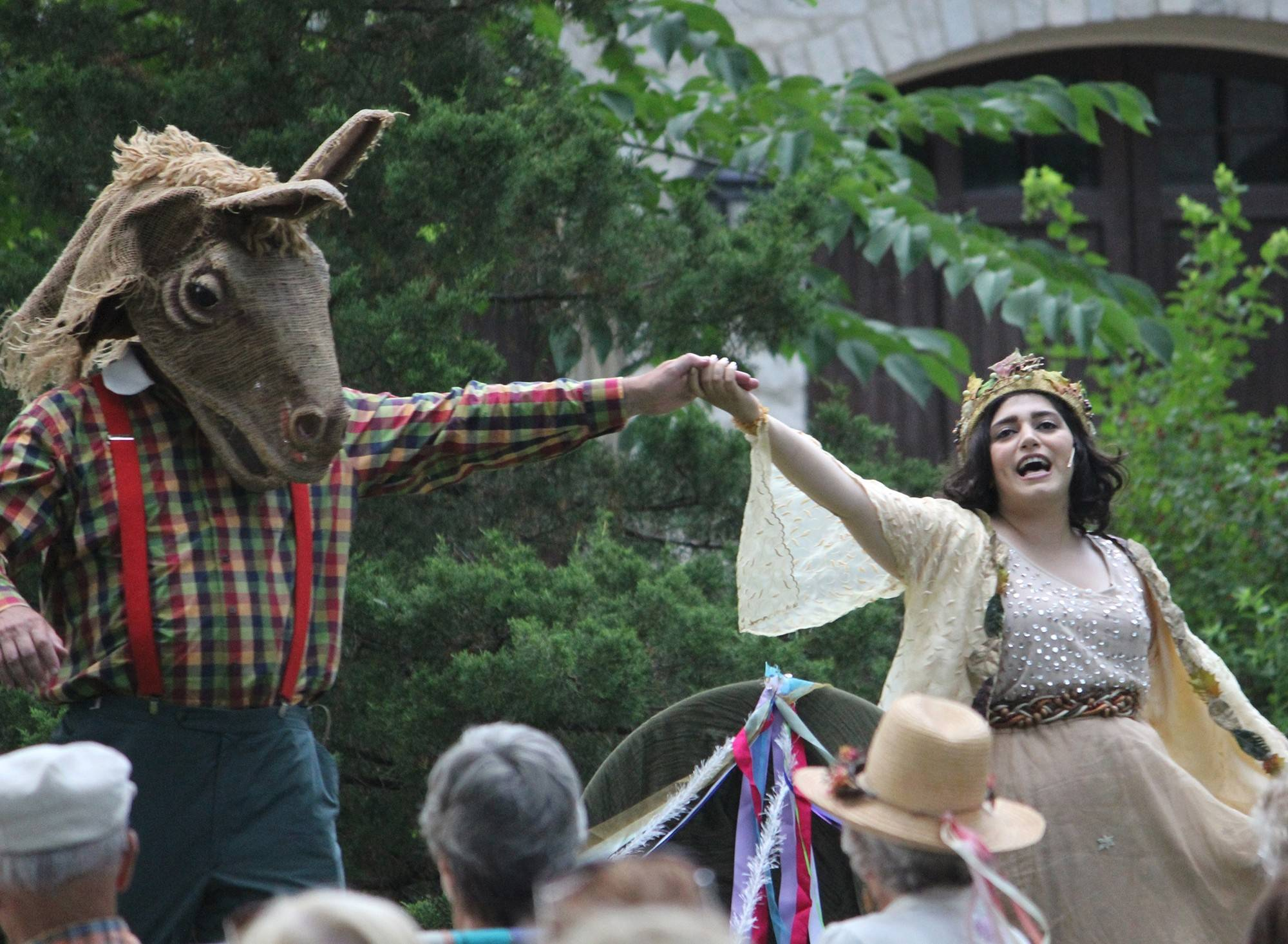"Dan McQuaid of Naperville, left, and Stefanie Nano of Chicago will play Nick Bottom and Titania, Fairy Queen, in ""A Midsummer Night's Dream"" Saturday, July 19, at Island Park in Geneva. Admission is free."