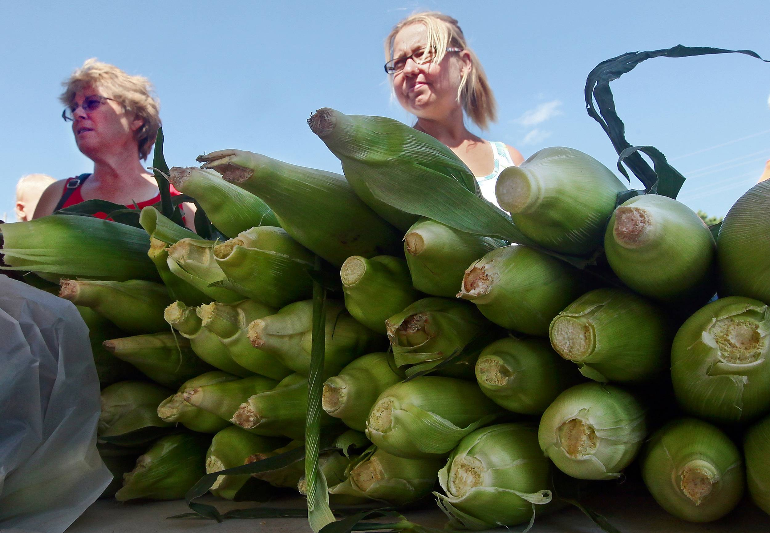 Ellen Stice, left, and Melinda Deeds, talk to one of the venders about his produce at the Farmers Market behind The Quincy Mall in Quincy,