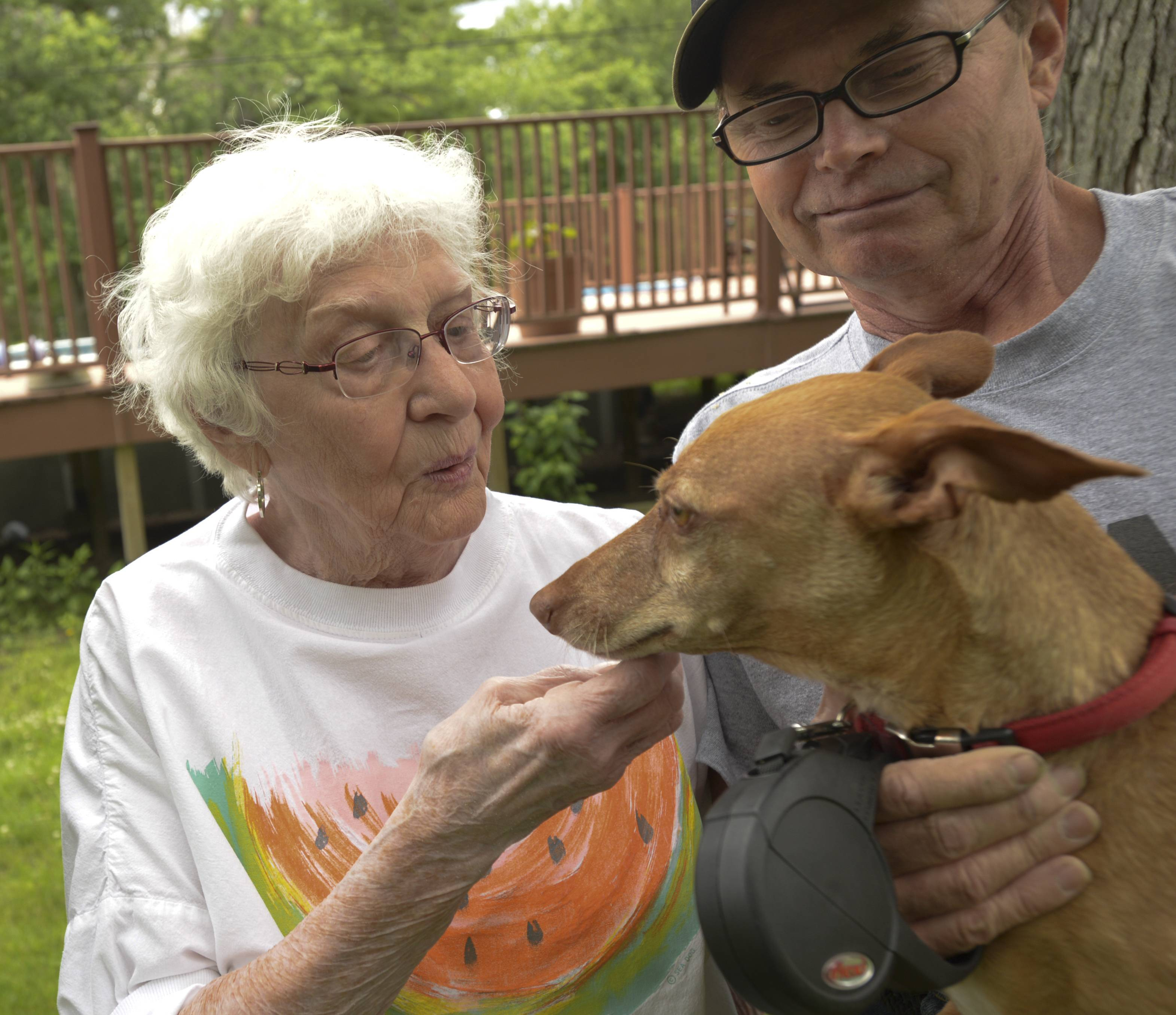 Dolly Jefferson greets Roxie, held by her owner Rich Parent. The 11-year-old dog has injuries to her face after she was attacked by coyotes and was saved from certain death by 84-year-old Jackson.
