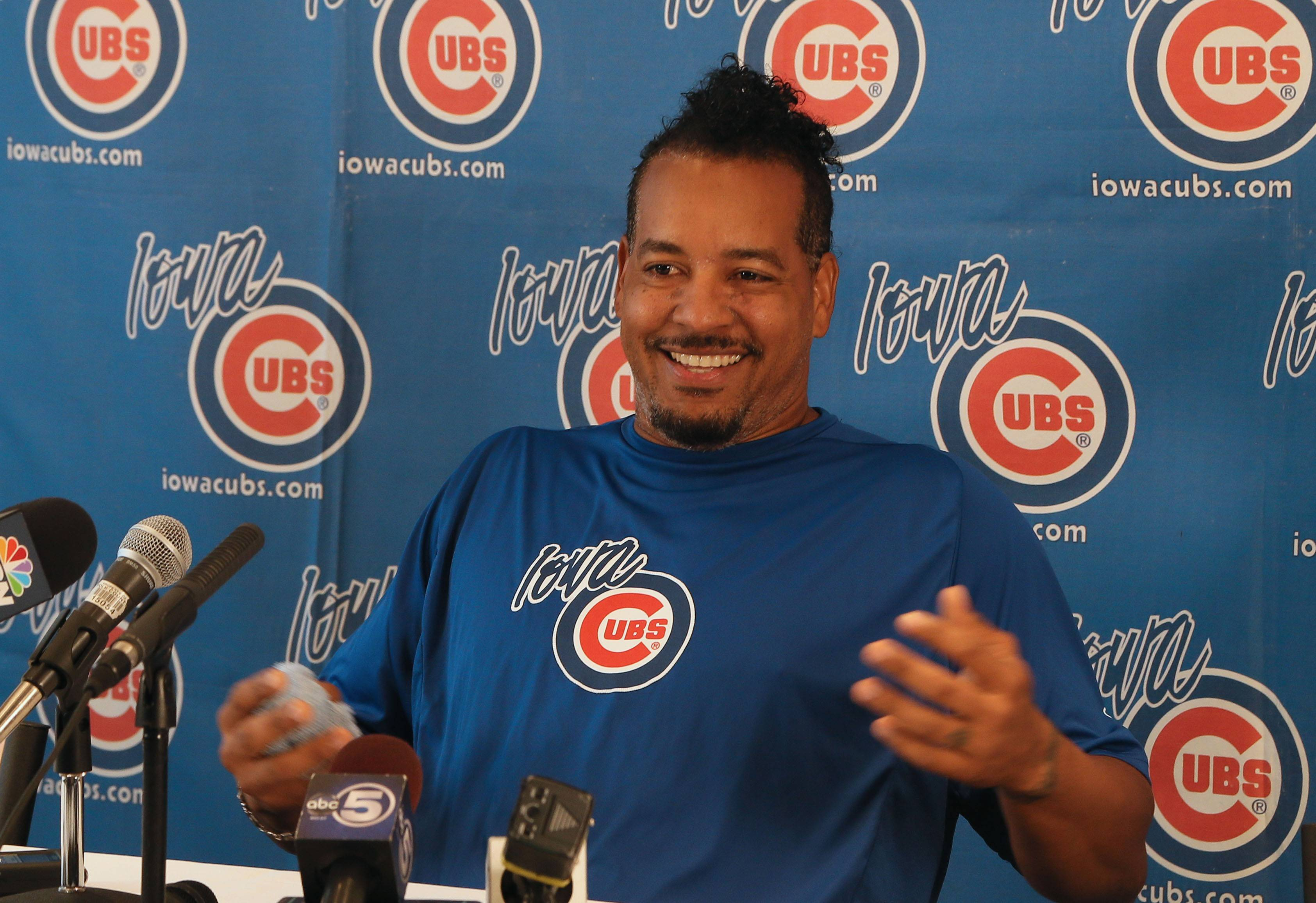 Manny Ramirez makes his debut for the Iowa Cubs during a news conference at Principal Park in Des Moines, Iowa, on June 30, 2014.