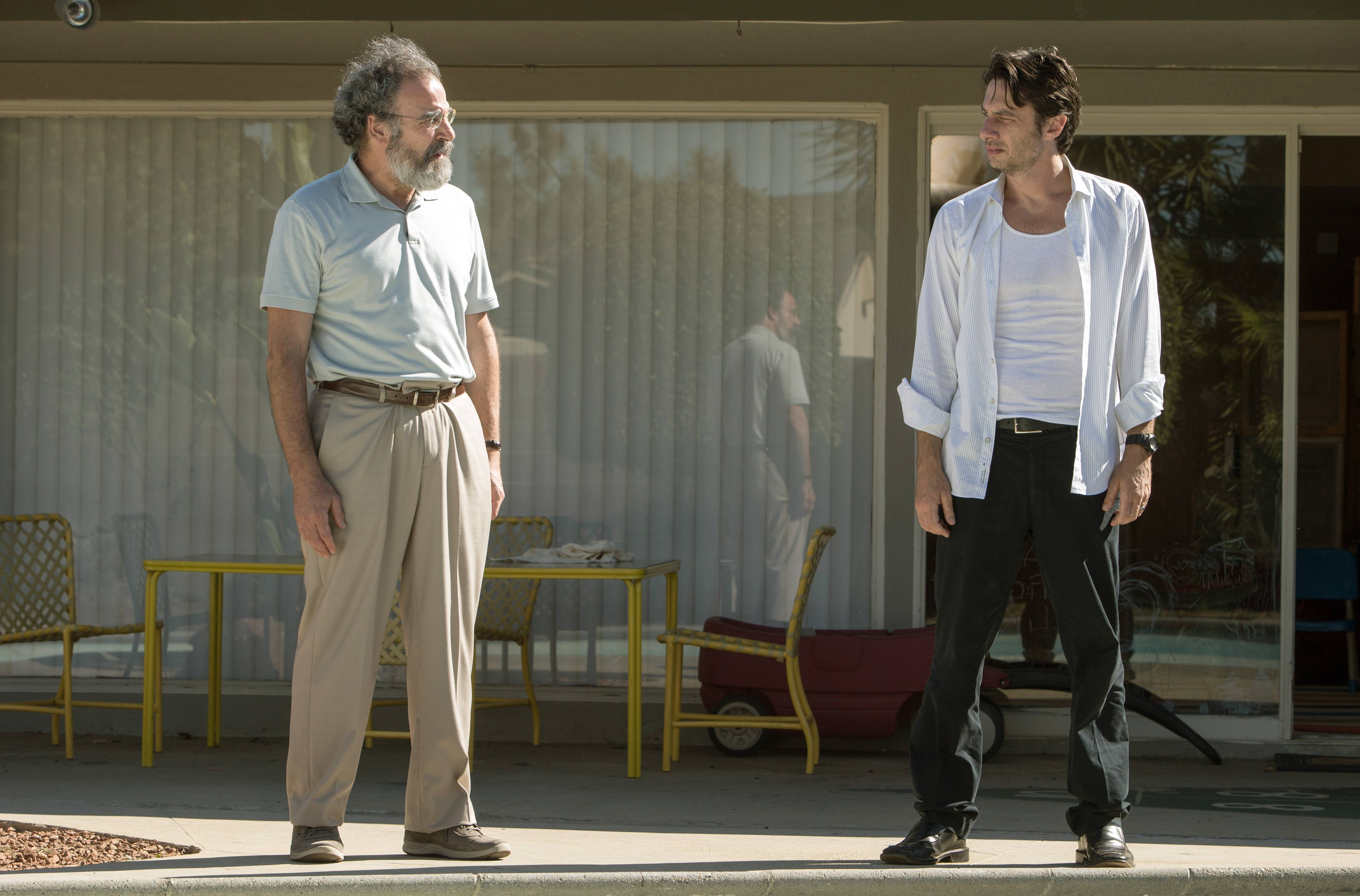 "A Jewish dad (Mandy Patinkin) has a heart-to-heart with his immature son (Zach Braff) in ""Wish I Was Here."""