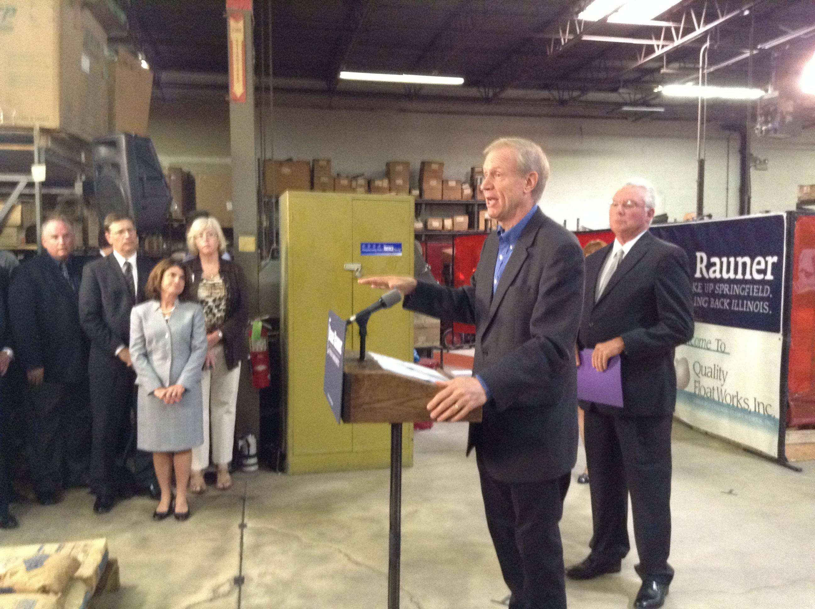 Illinois Republican gubernatorial candidate Bruce Rauner announces his job growth and tax reform plans at Quality Float Works in Schaumburg Thursday.