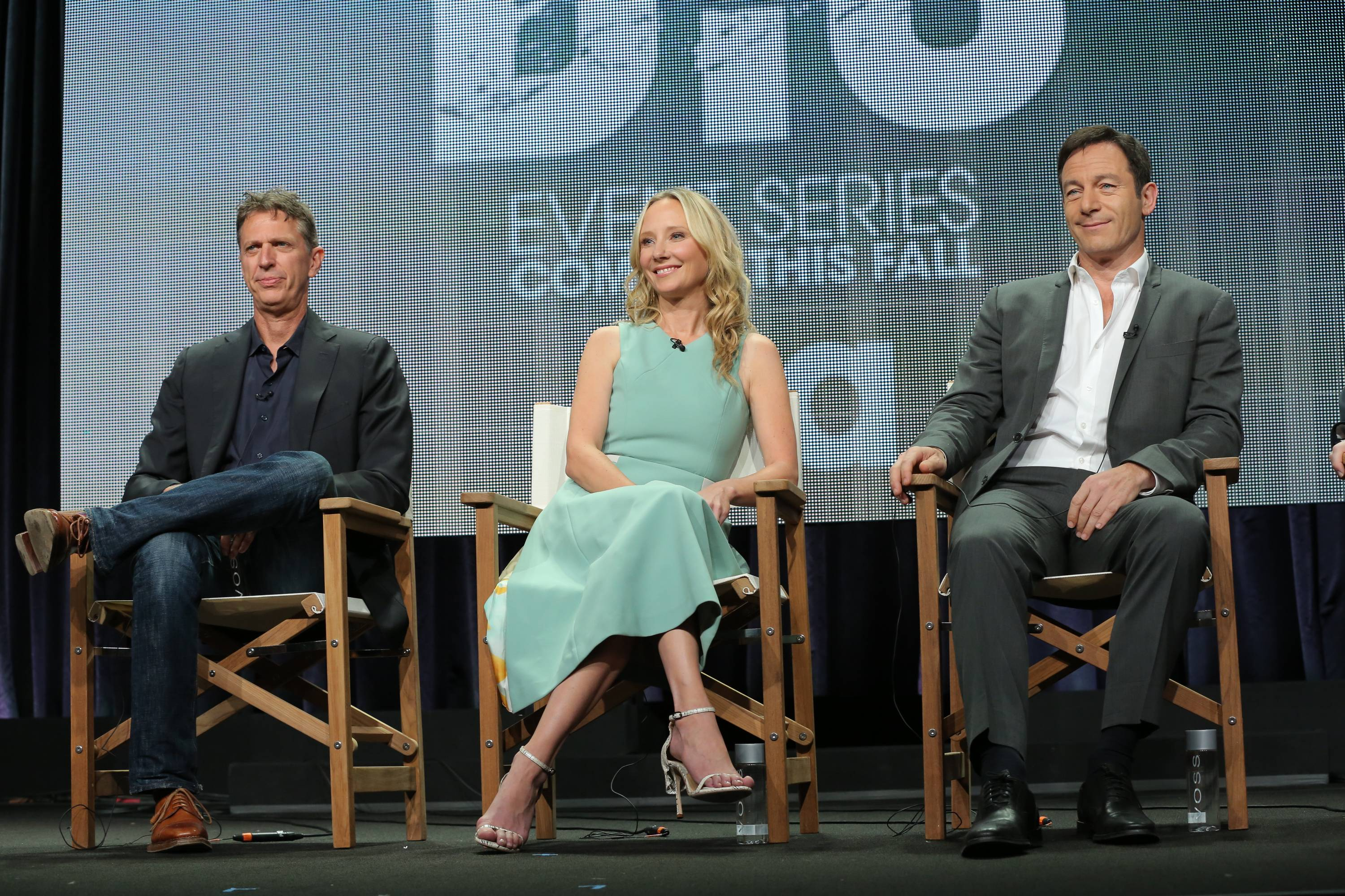 "Co-Creator/Executive Producer Tim Kring, with actors Anne Heche, and Jason Isaacs of ""Dig."""