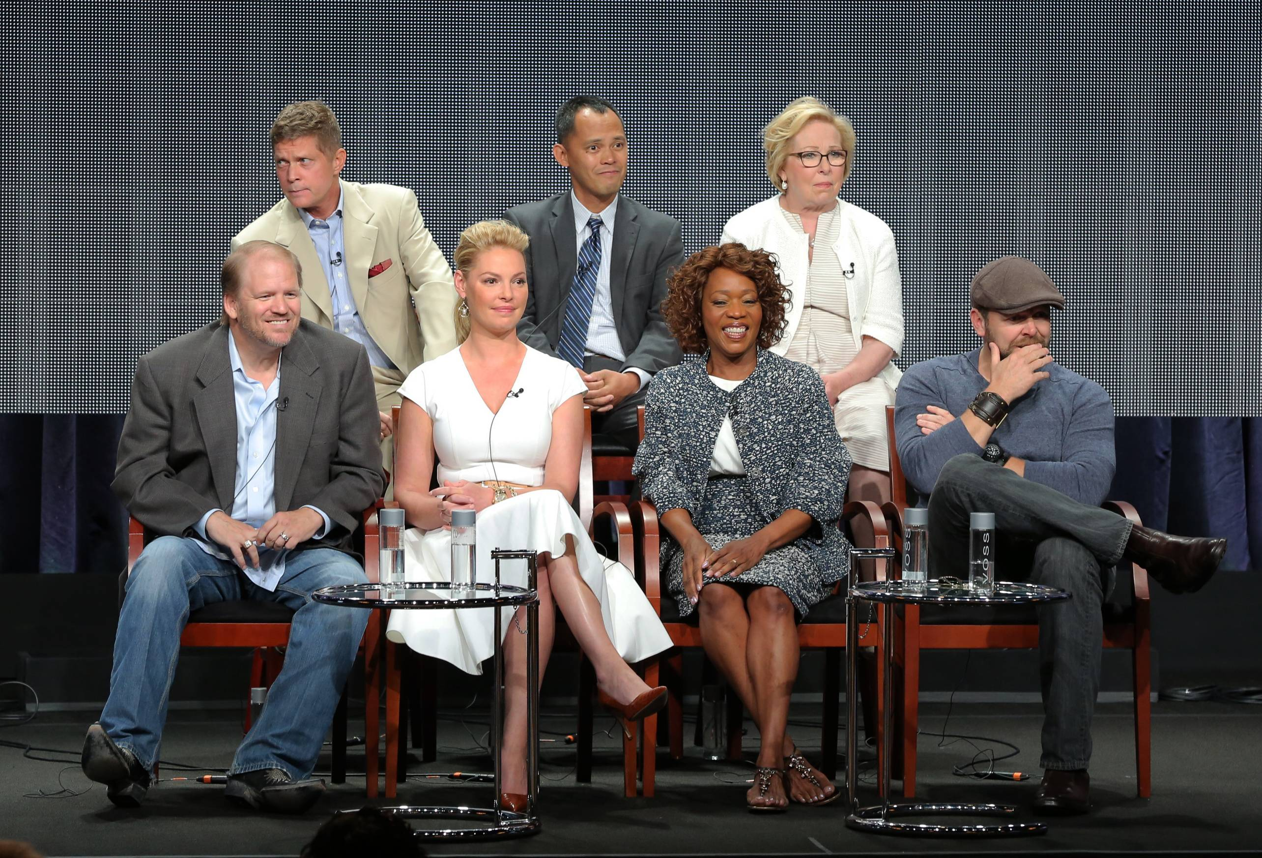 "From NBC's new fall series ""State of Affairs:"" back row from left, executive producers Bob Simonds, Rodney Faraon, Nancy Heigl, and front row from left, executive producers Ed Bernero, Katherine Heigl, actress Alfre Woodard and executive producer Joe Carnahan."